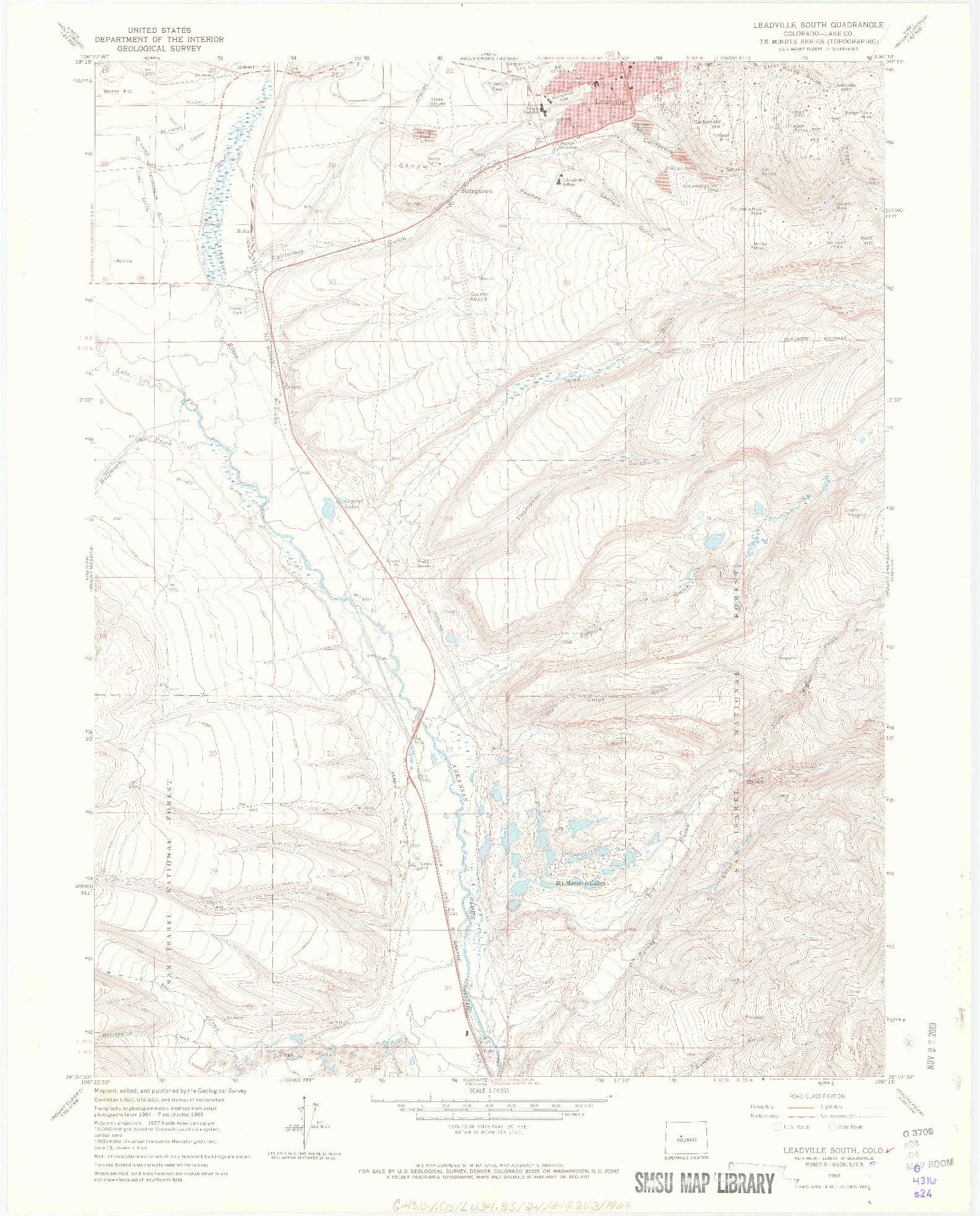 USGS 1:24000-SCALE QUADRANGLE FOR LEADVILLE SOUTH, CO 1969