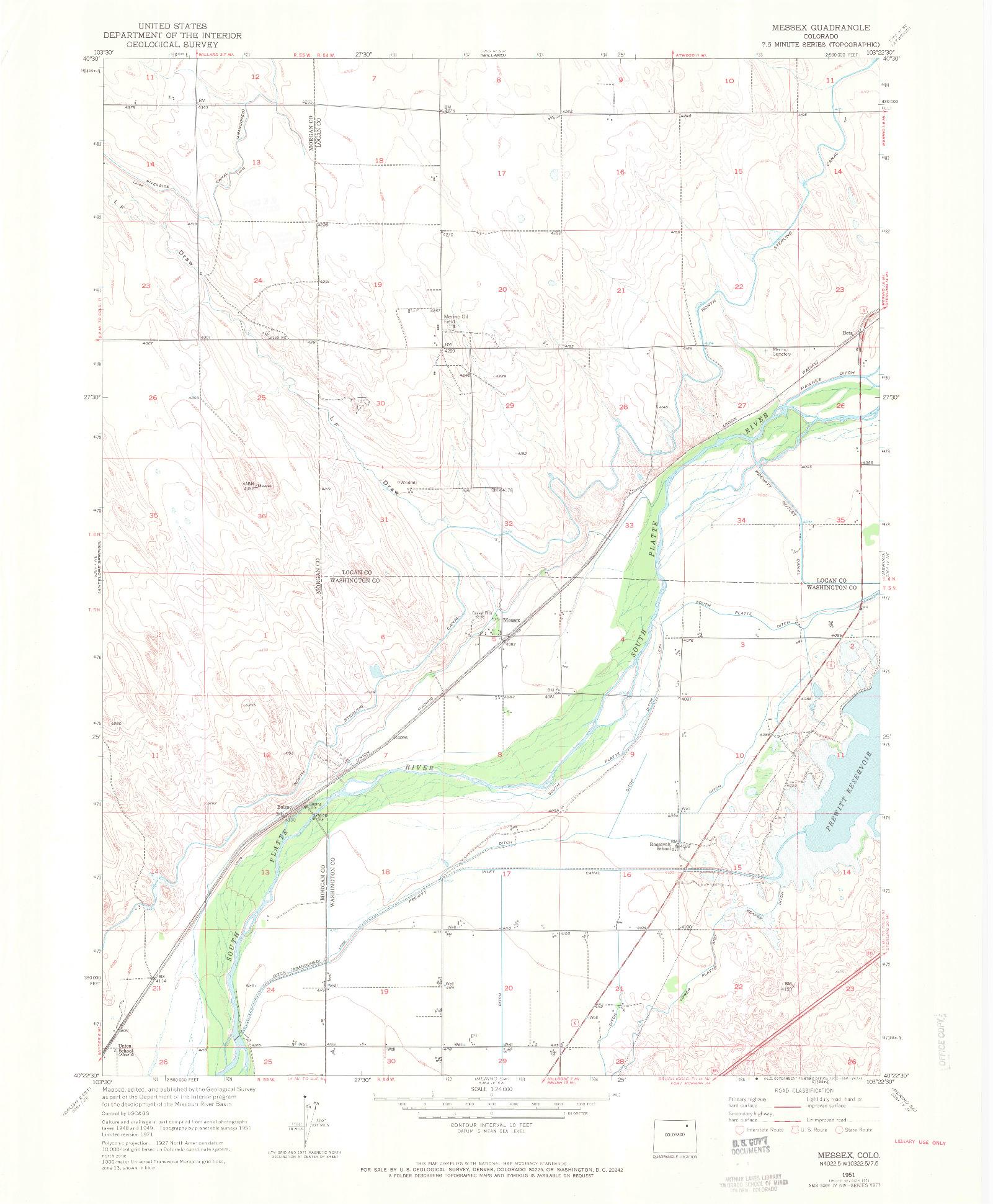 USGS 1:24000-SCALE QUADRANGLE FOR MESSEX, CO 1951