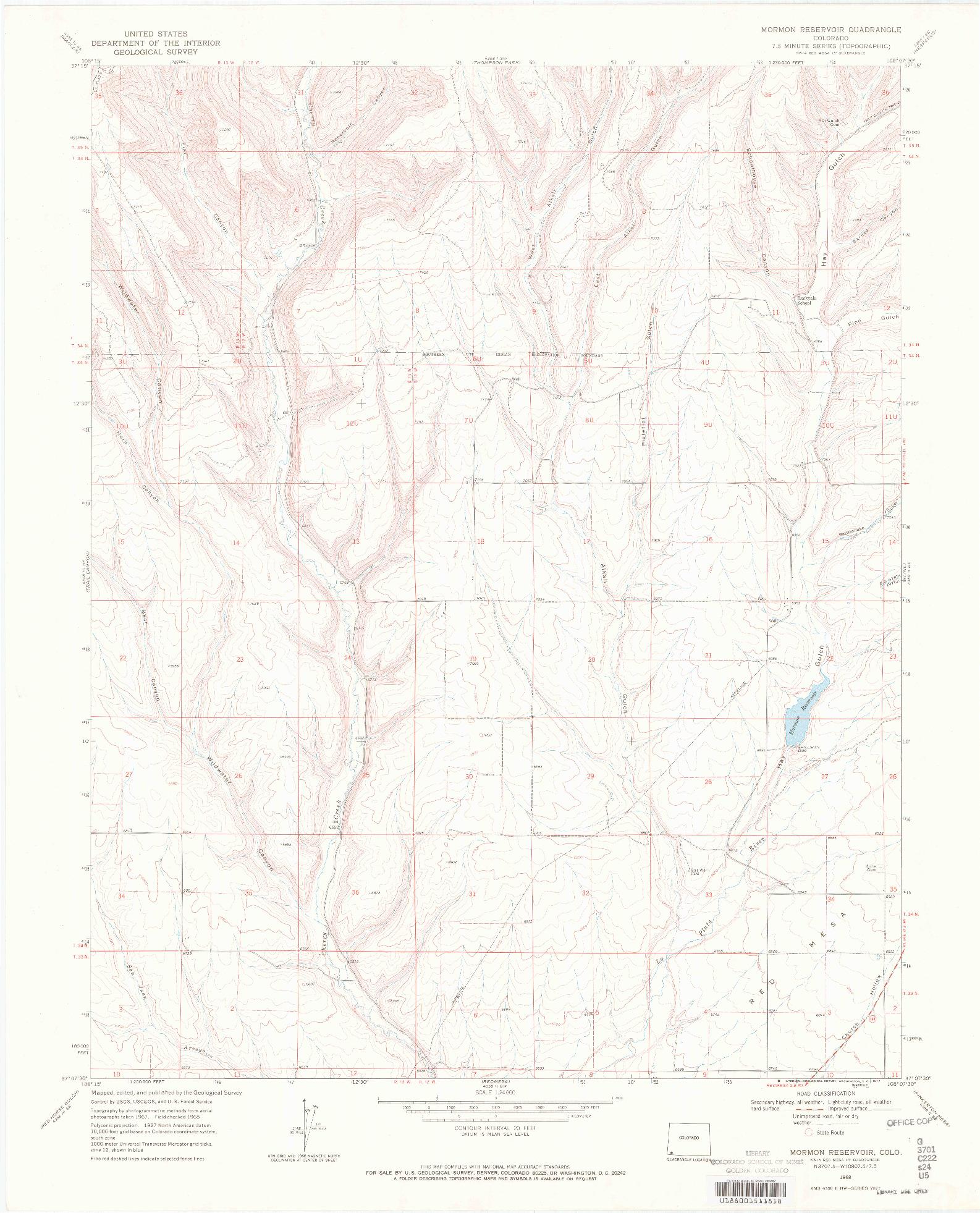 USGS 1:24000-SCALE QUADRANGLE FOR MORMON RESERVOIR, CO 1968