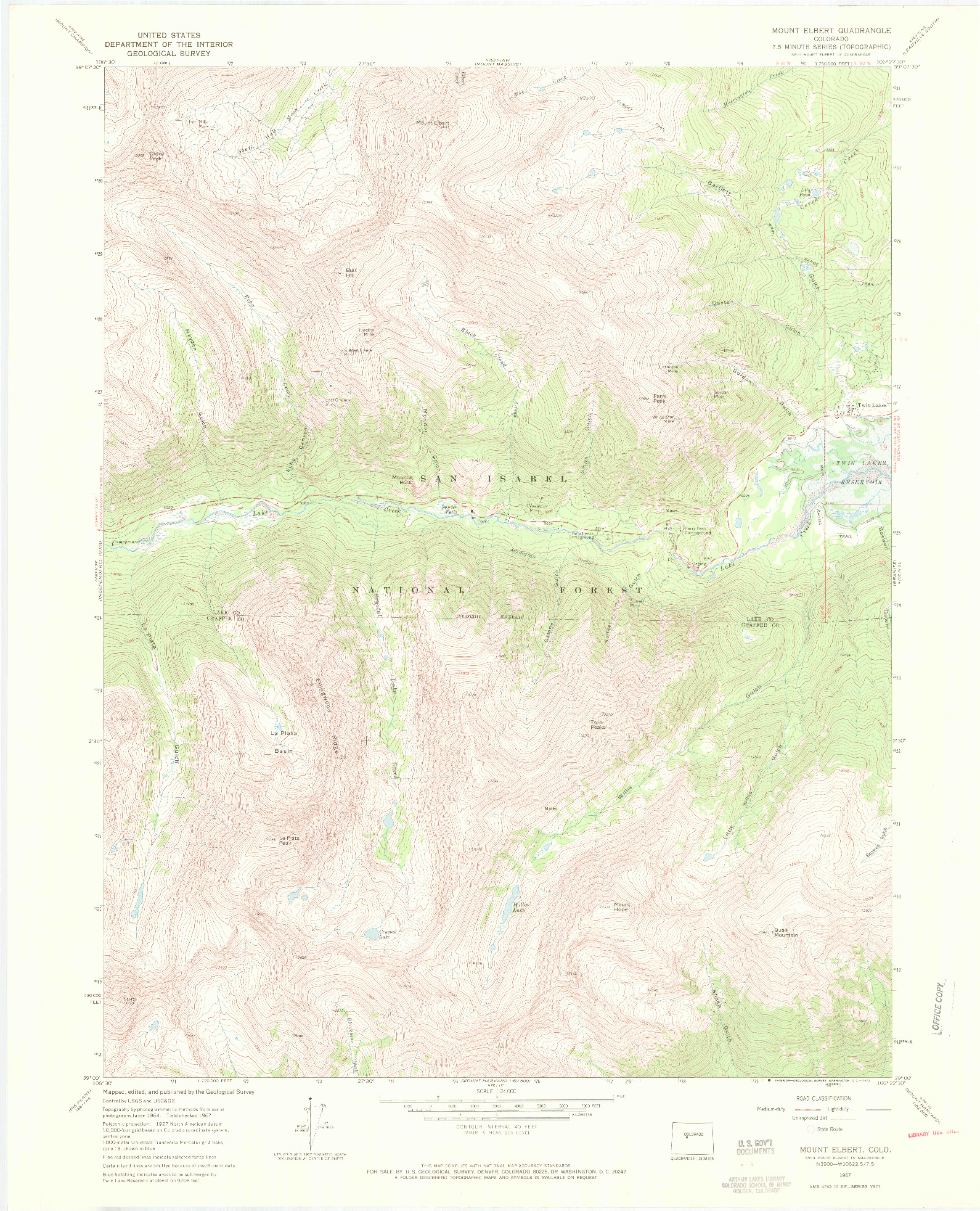 USGS 1:24000-SCALE QUADRANGLE FOR MOUNT ELBERT, CO 1967