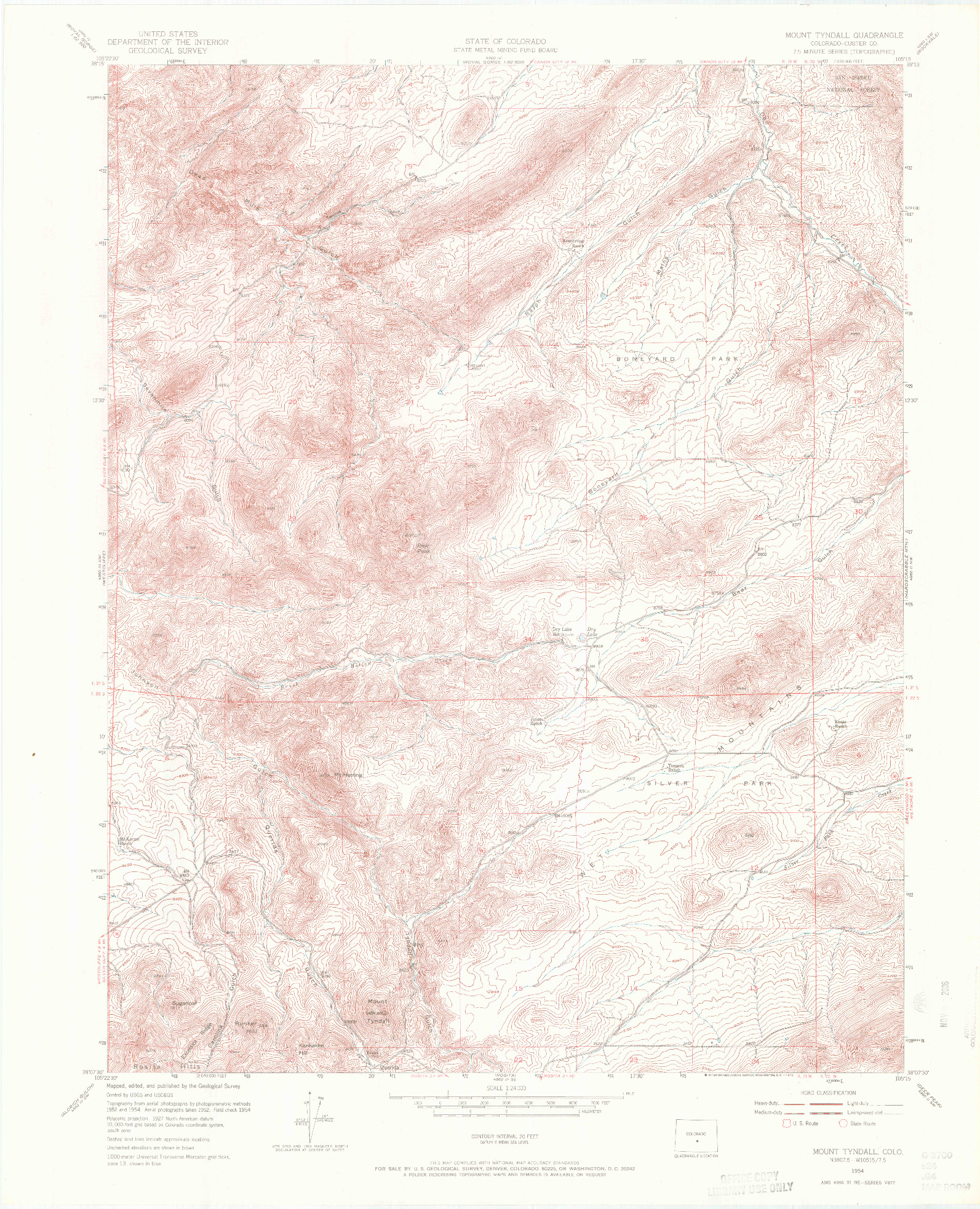 USGS 1:24000-SCALE QUADRANGLE FOR MOUNT TYNDALL, CO 1954