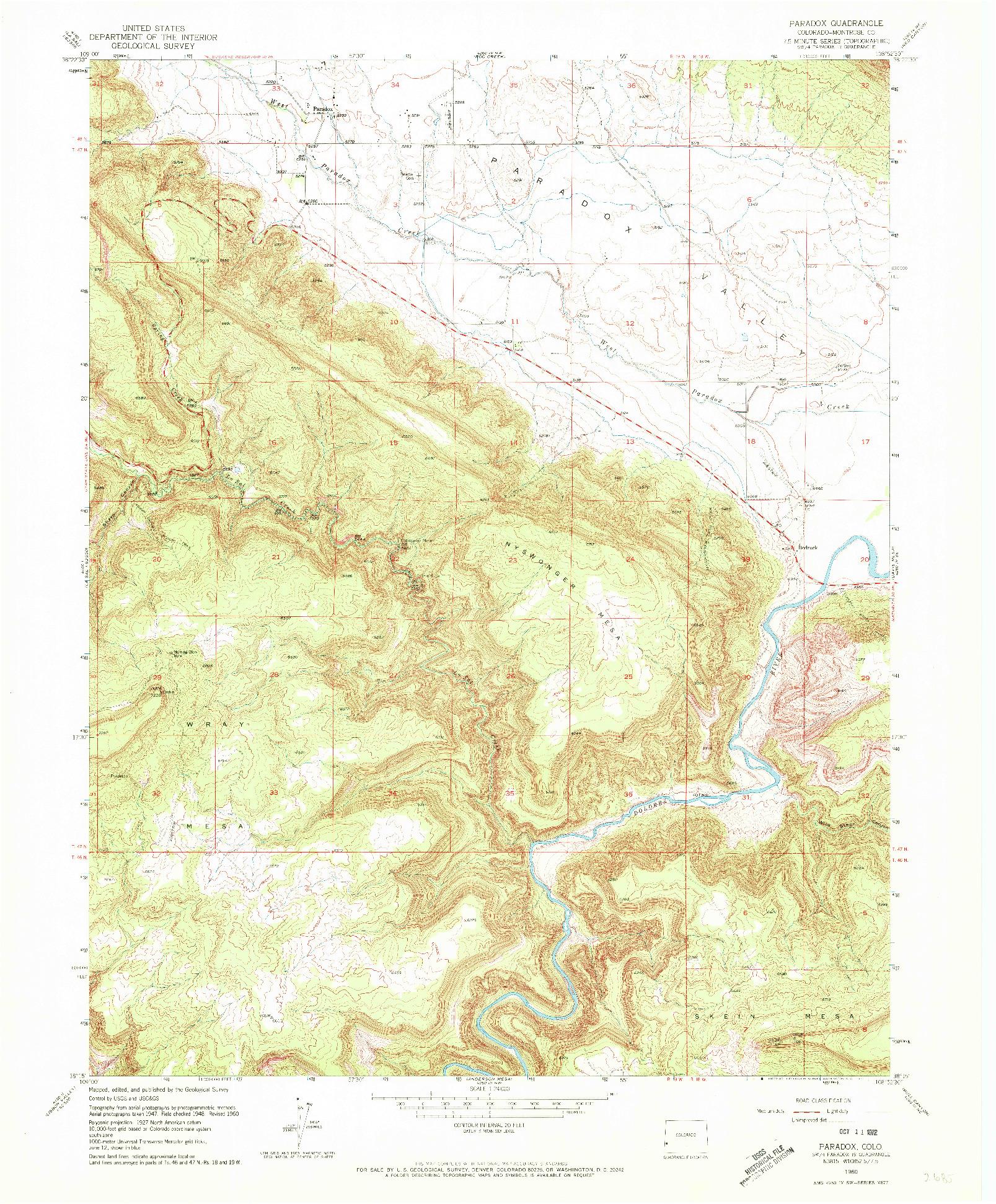 USGS 1:24000-SCALE QUADRANGLE FOR PARADOX, CO 1960