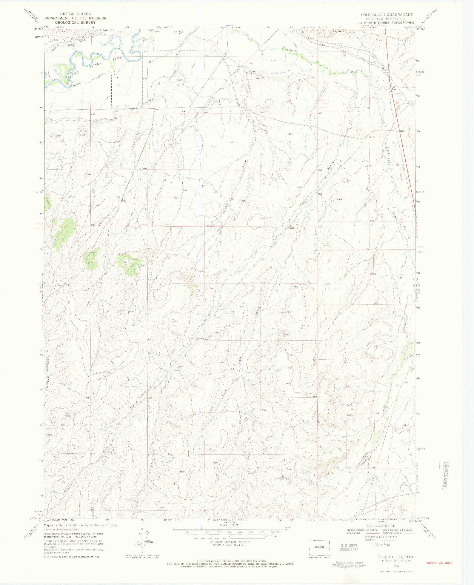USGS 1:24000-SCALE QUADRANGLE FOR POLE GULCH, CO 1969