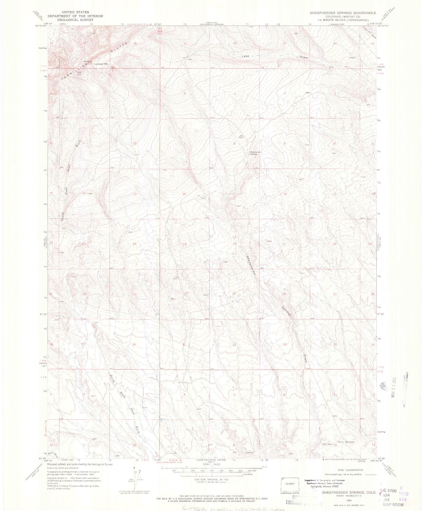 USGS 1:24000-SCALE QUADRANGLE FOR SHEEPHERDER SPRINGS, CO 1969