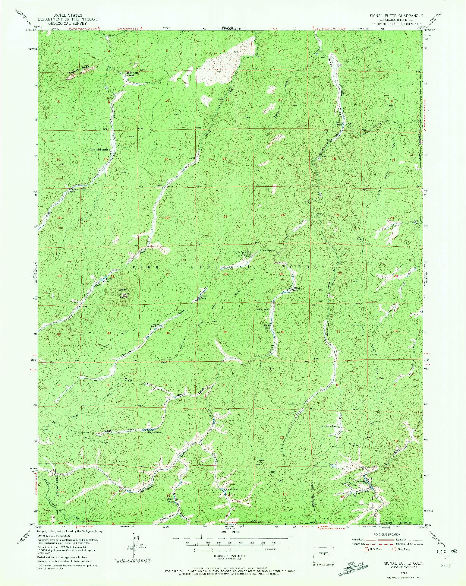 USGS 1:24000-SCALE QUADRANGLE FOR SIGNAL BUTTE, CO 1954