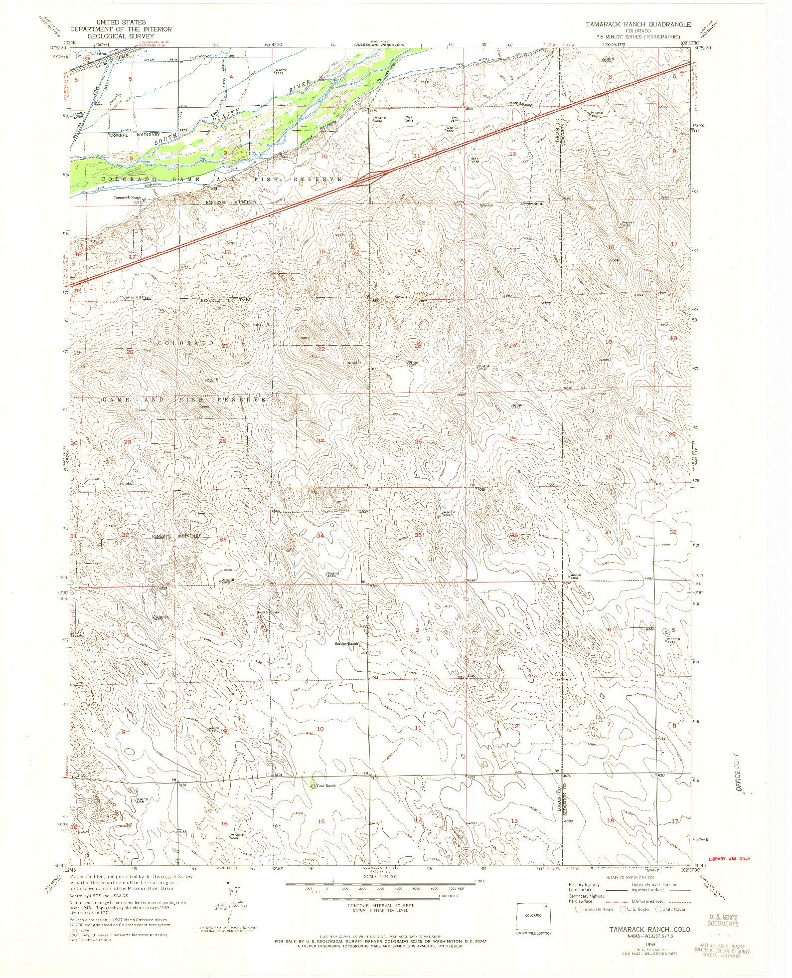 USGS 1:24000-SCALE QUADRANGLE FOR TAMARACK RANCH, CO 1953