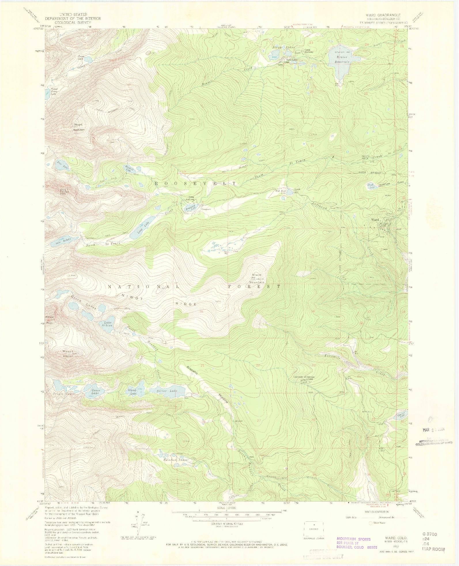 USGS 1:24000-SCALE QUADRANGLE FOR WARD, CO 1957
