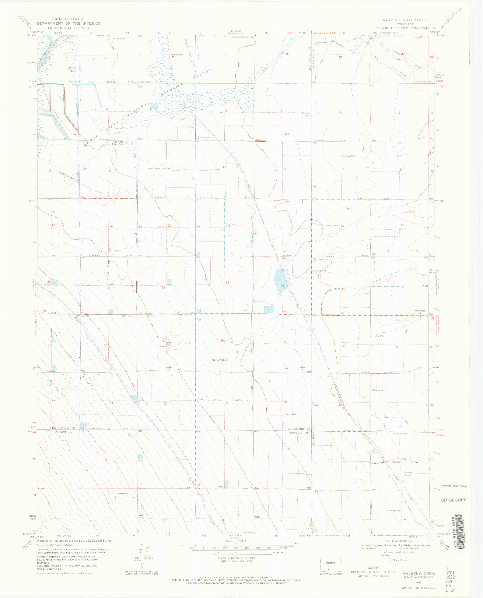 USGS 1:24000-SCALE QUADRANGLE FOR WAVERLY, CO 1969