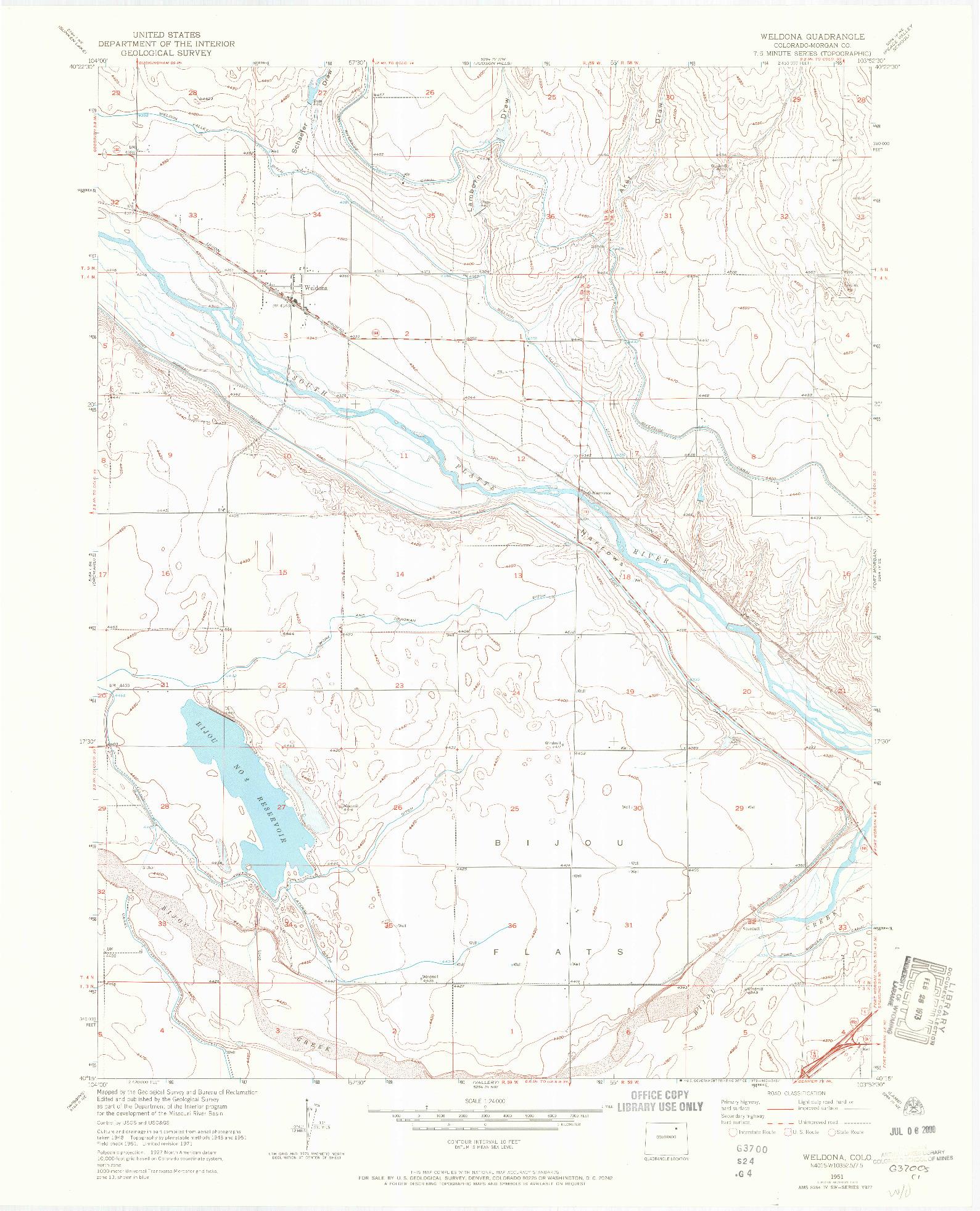 USGS 1:24000-SCALE QUADRANGLE FOR WELDONA, CO 1951