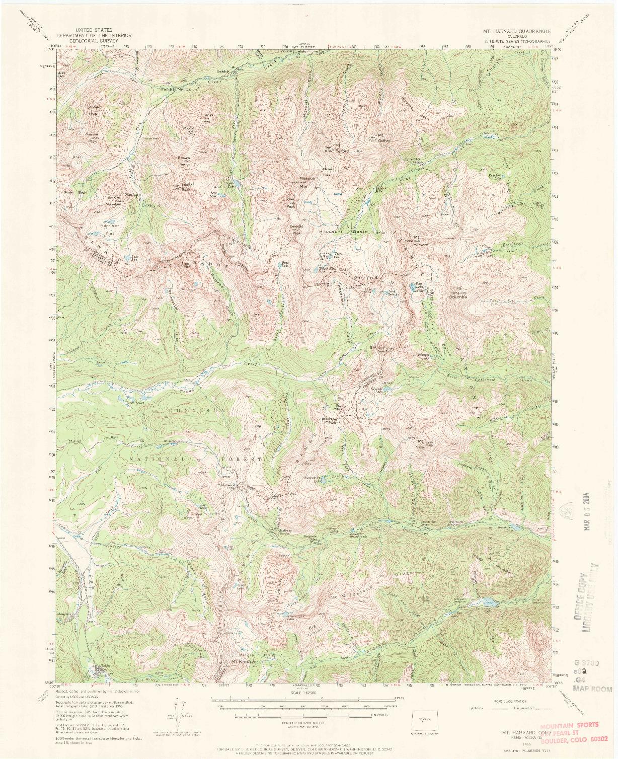 USGS 1:62500-SCALE QUADRANGLE FOR MOUNT HARVARD, CO 1955