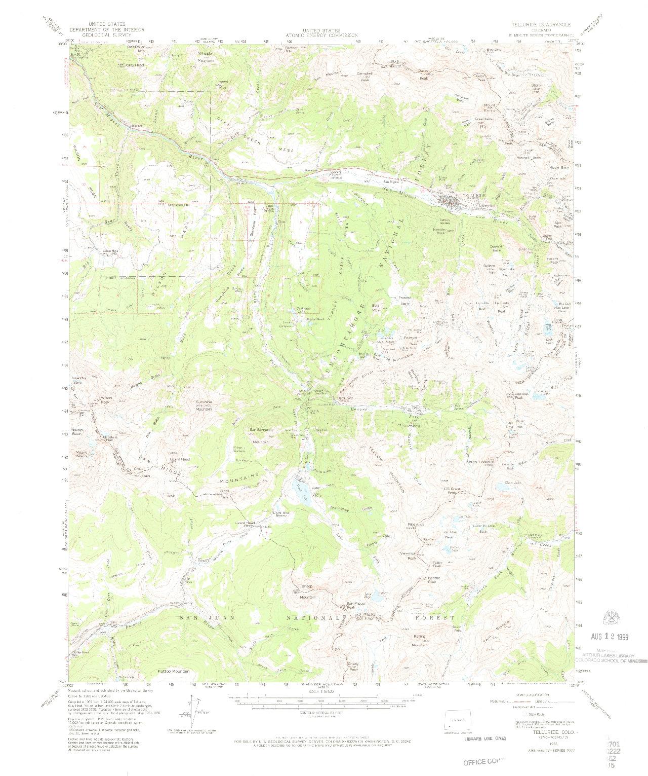 USGS 1:62500-SCALE QUADRANGLE FOR TELLURIDE, CO 1955
