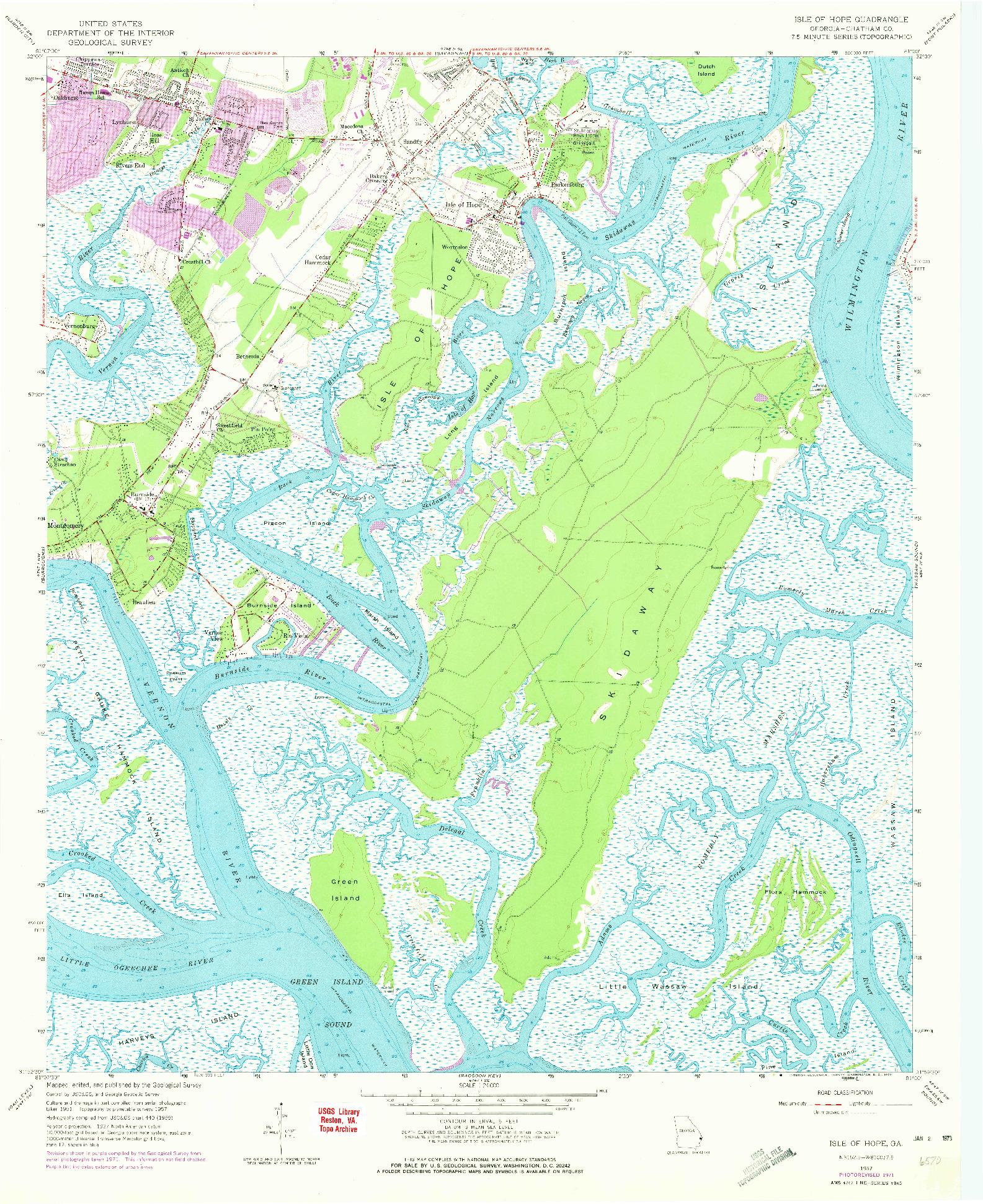 USGS 1:24000-SCALE QUADRANGLE FOR ISLE OF HOPE, GA 1957