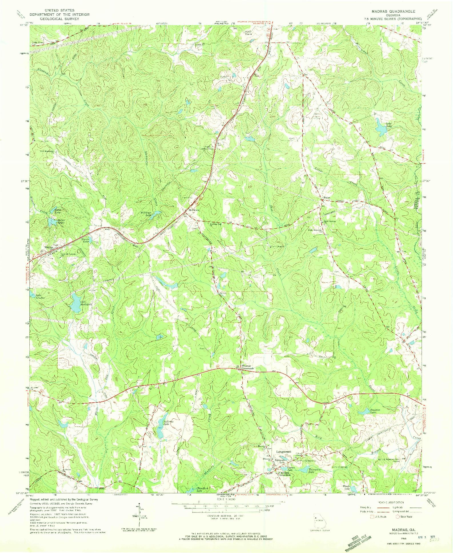 USGS 1:24000-SCALE QUADRANGLE FOR MADRAS, GA 1965