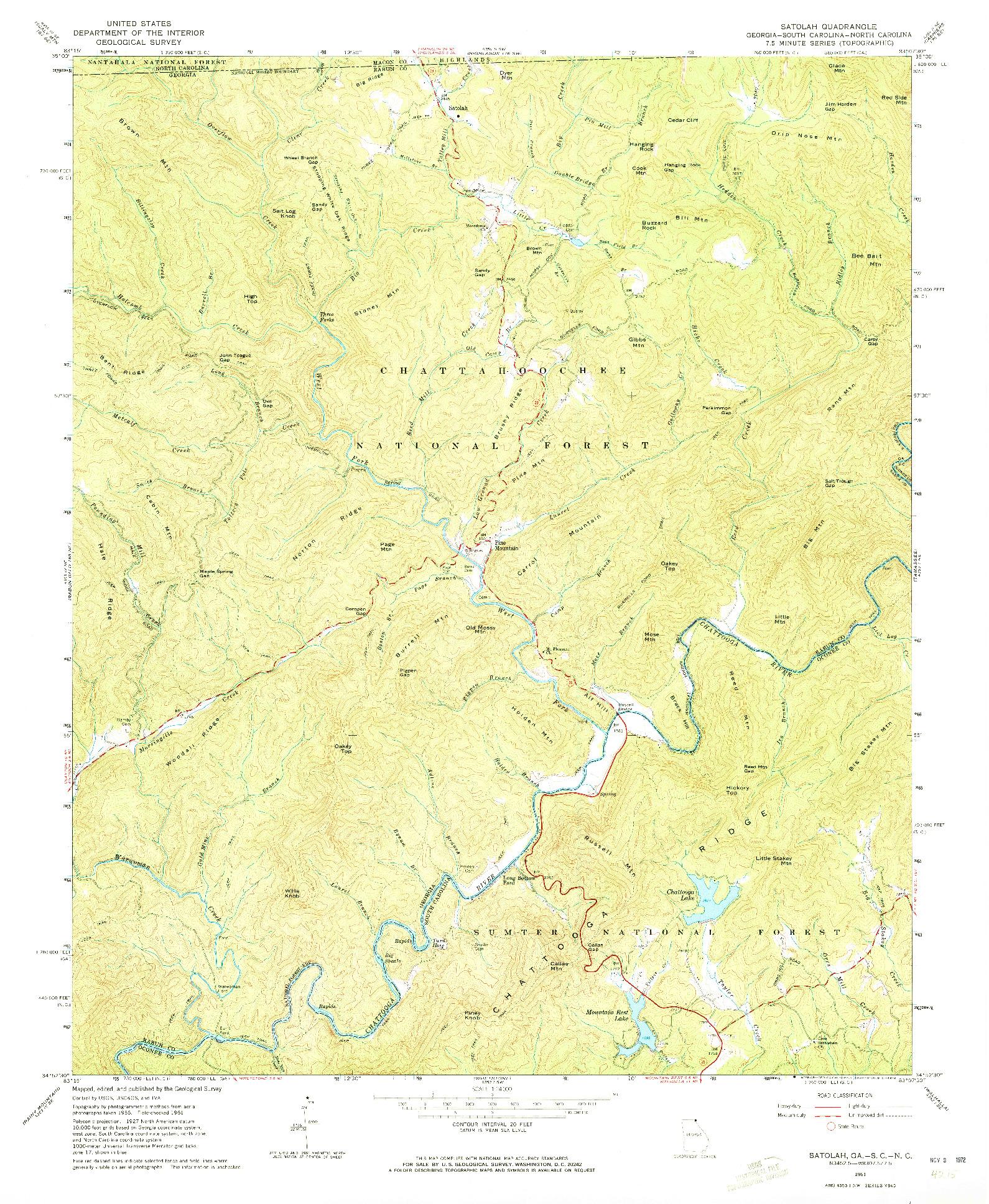 USGS 1:24000-SCALE QUADRANGLE FOR SATOLAH, GA 1961