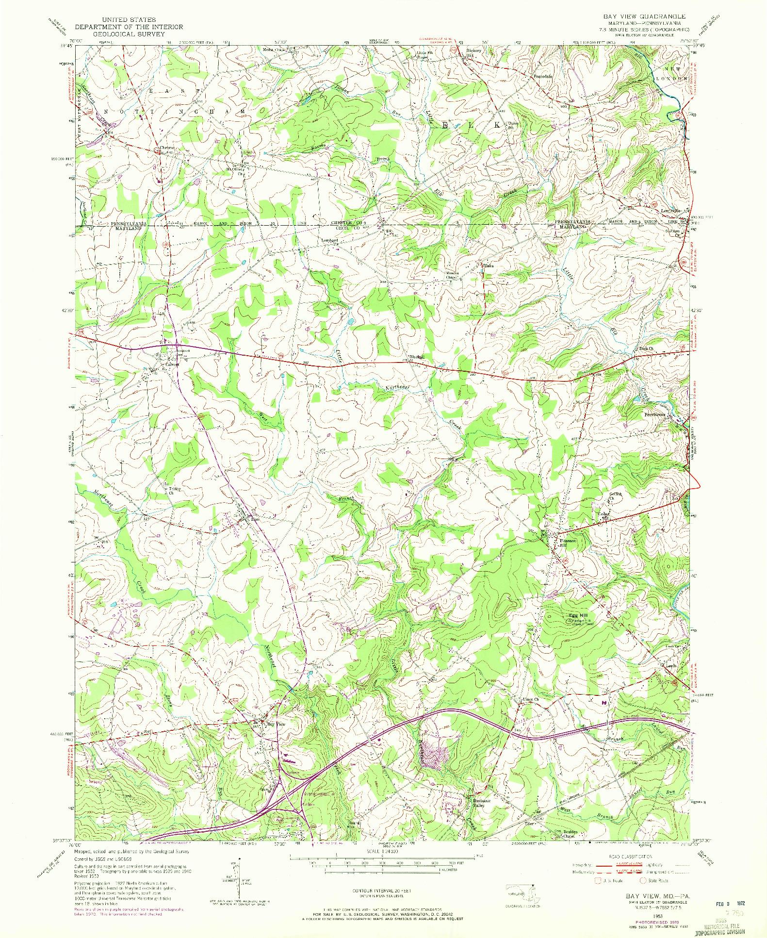 USGS 1:24000-SCALE QUADRANGLE FOR BAY VIEW, MD 1953