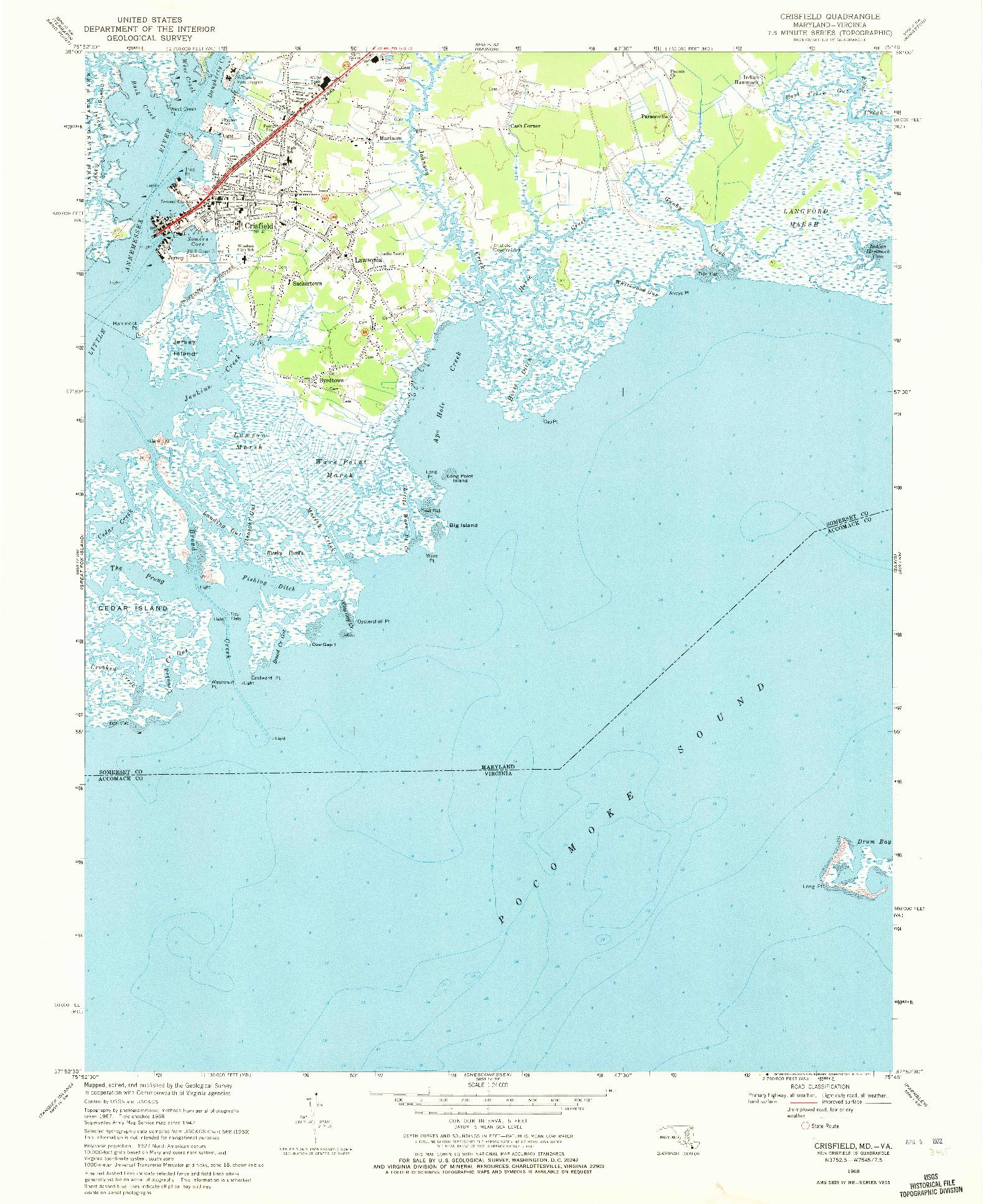 USGS 1:24000-SCALE QUADRANGLE FOR CRISFIELD, MD 1968