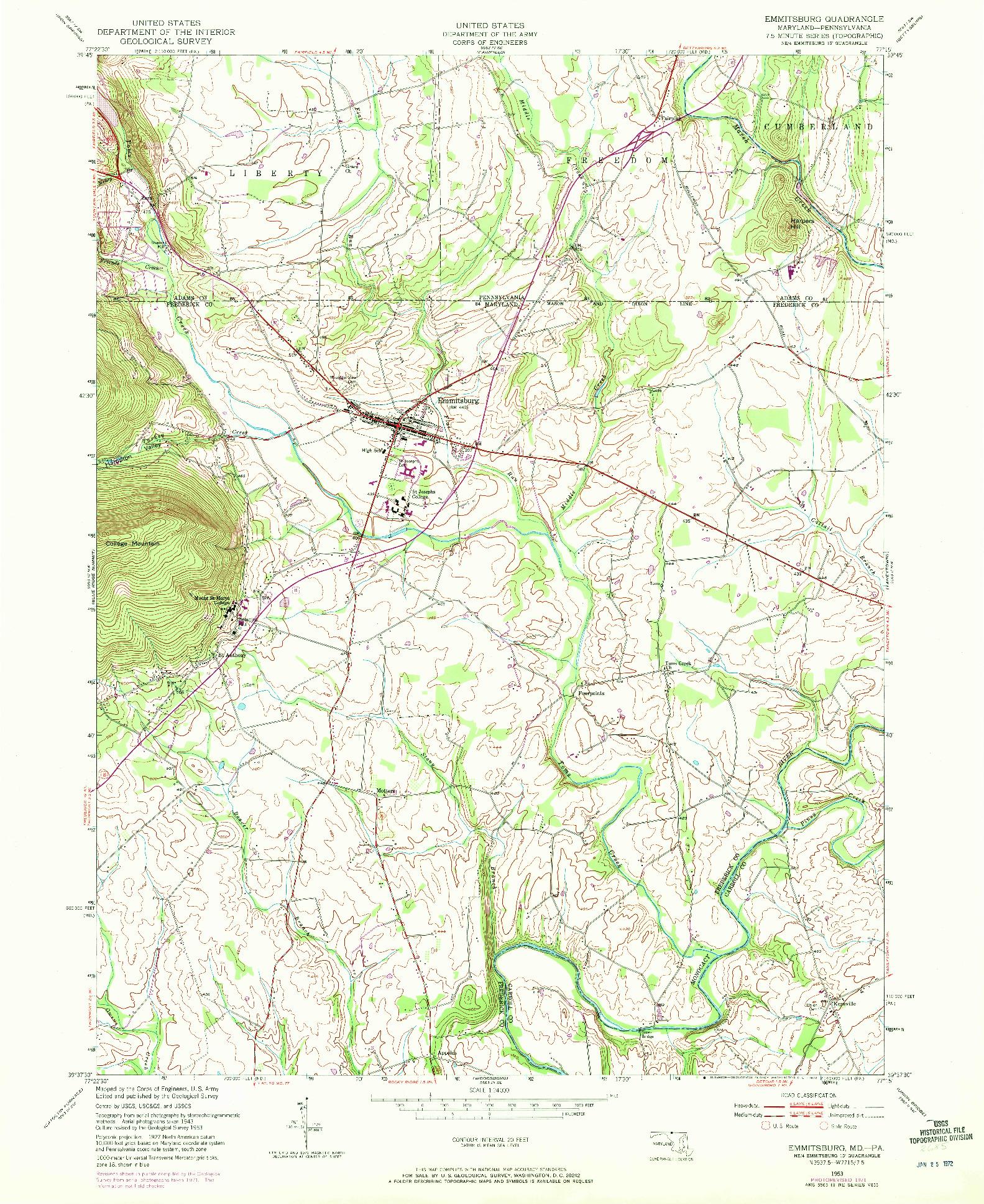 USGS 1:24000-SCALE QUADRANGLE FOR EMMITSBURG, MD 1953