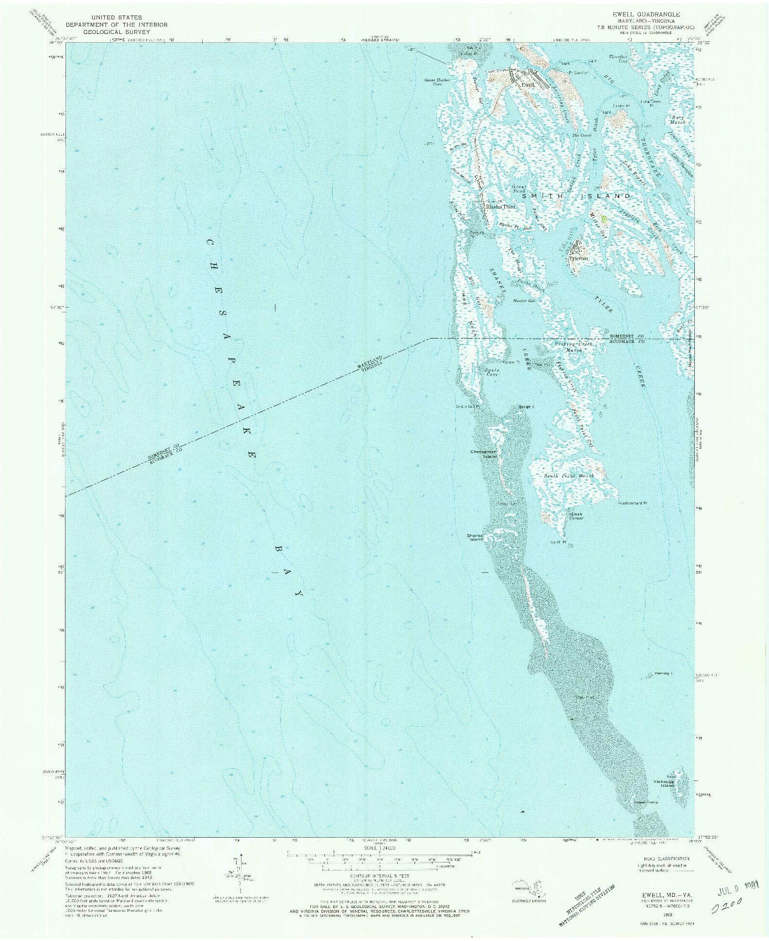 USGS 1:24000-SCALE QUADRANGLE FOR EWELL, MD 1968