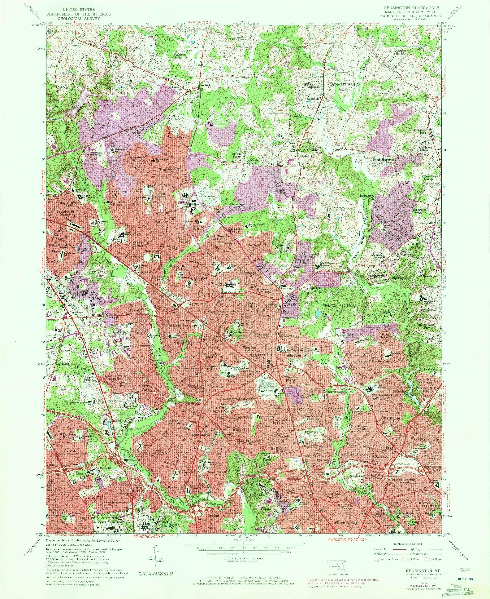 USGS 1:24000-SCALE QUADRANGLE FOR KENSINGTON, MD 1965