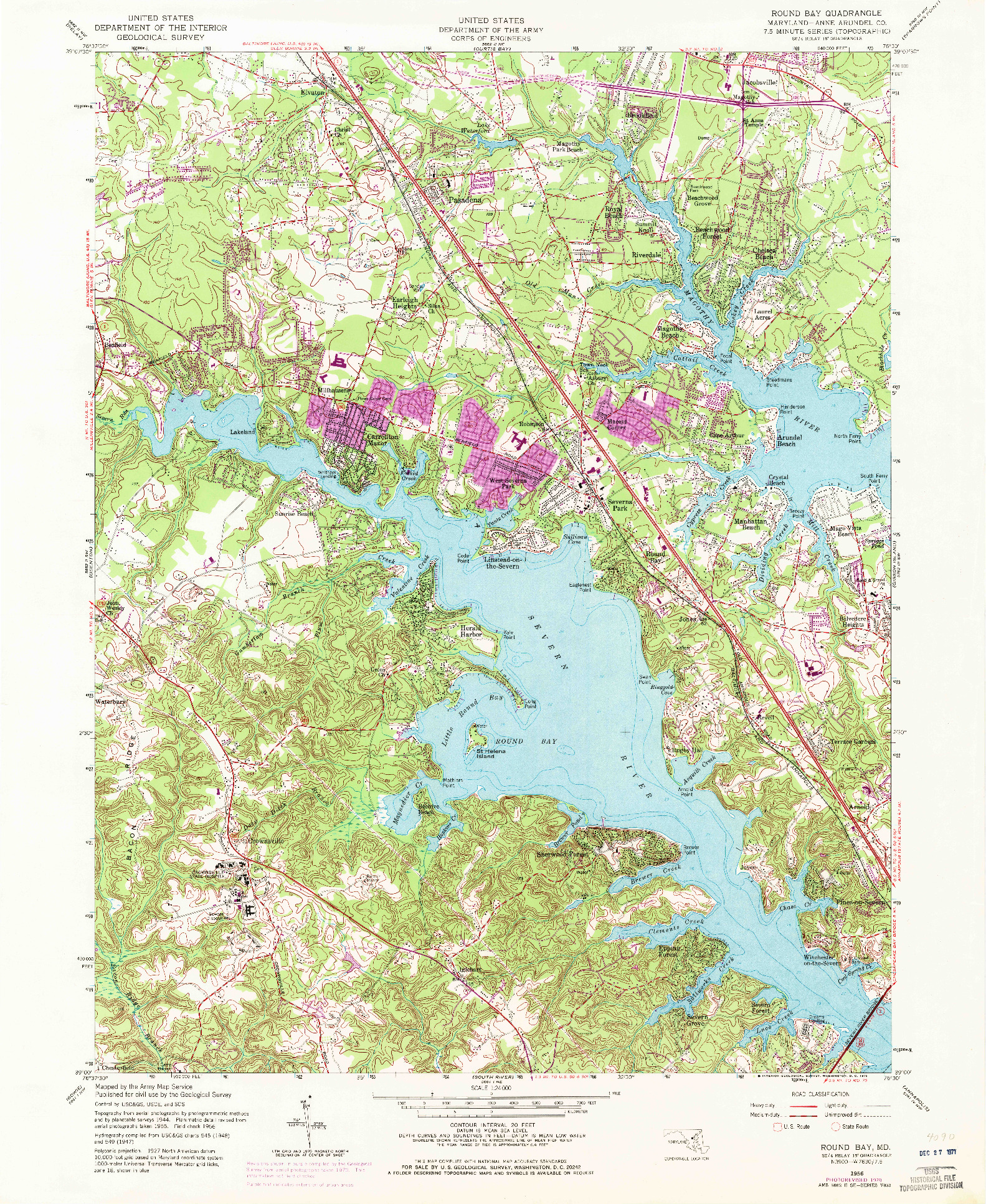 USGS 1:24000-SCALE QUADRANGLE FOR ROUND BAY, MD 1956