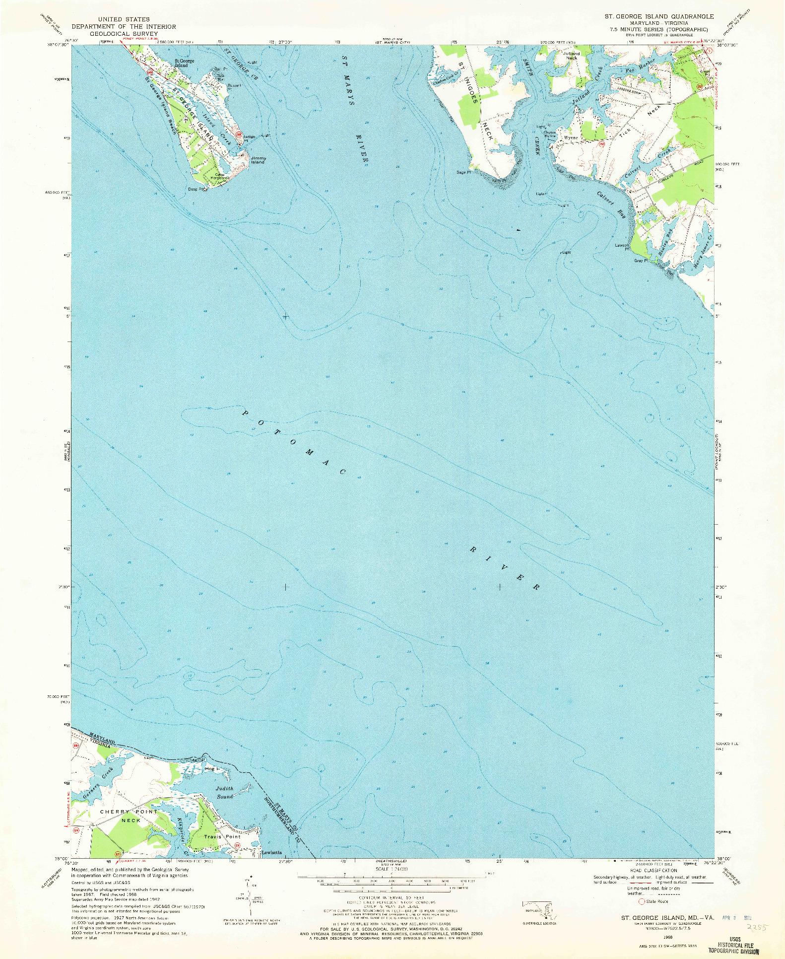 USGS 1:24000-SCALE QUADRANGLE FOR ST. GEORGE ISLAND, MD 1968