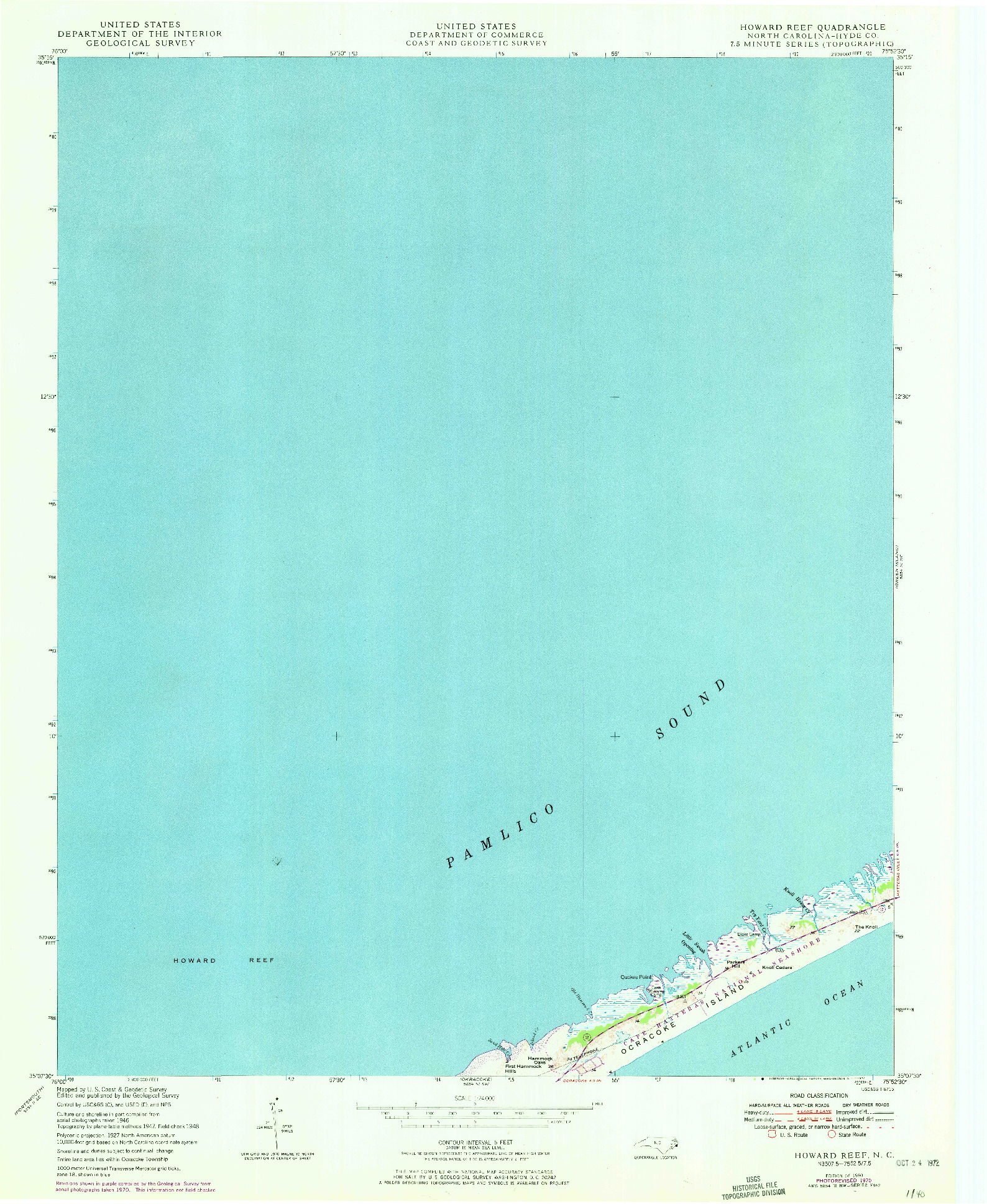 USGS 1:24000-SCALE QUADRANGLE FOR HOWARD REEF, NC 1950