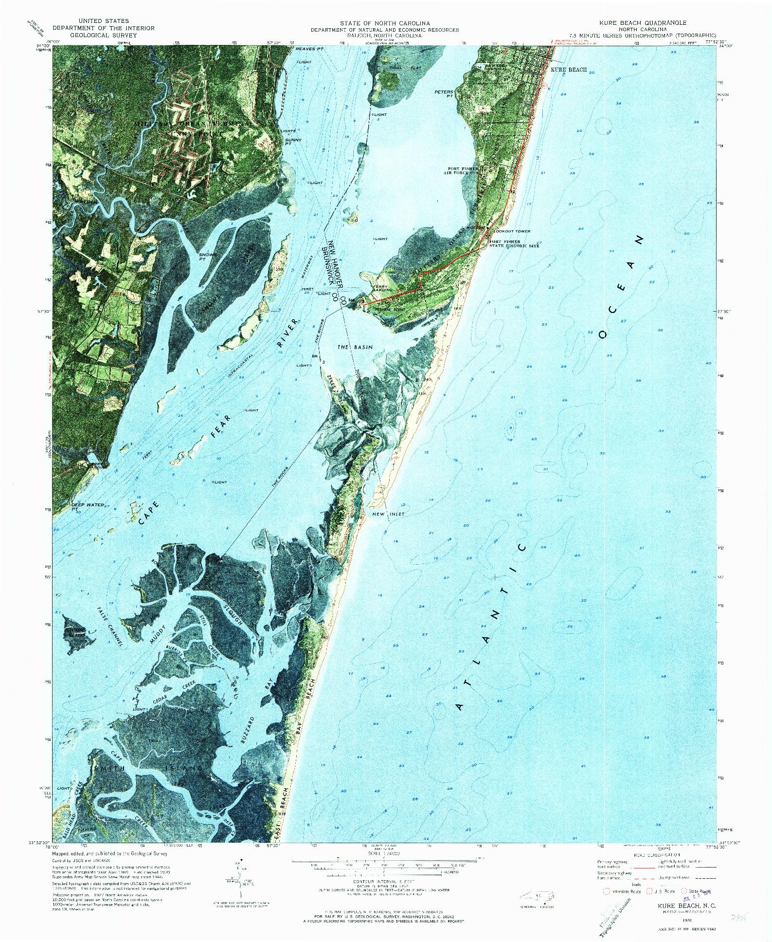 USGS 1:24000-SCALE QUADRANGLE FOR KURE BEACH, NC 1970