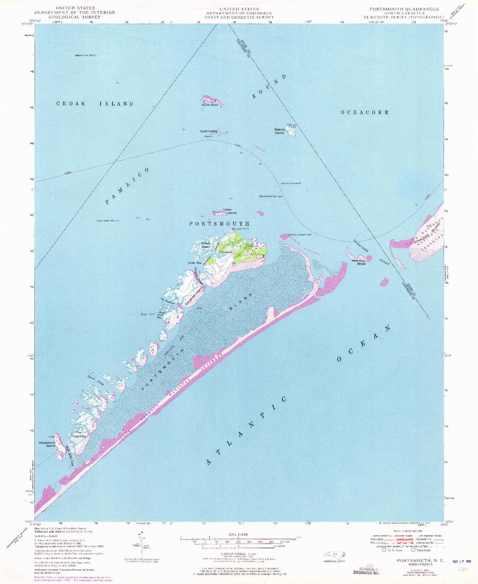USGS 1:24000-SCALE QUADRANGLE FOR PORTSMOUTH, NC 1950