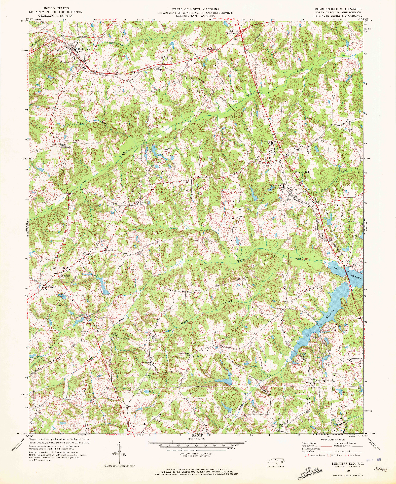 USGS 1:24000-SCALE QUADRANGLE FOR SUMMERFIELD, NC 1969