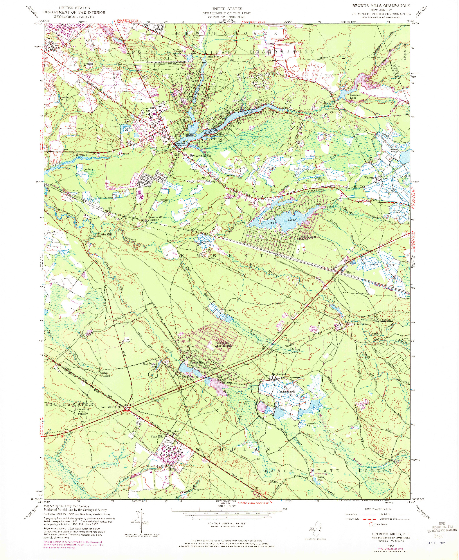USGS 1:24000-SCALE QUADRANGLE FOR BROWNS MILLS, NJ 1957