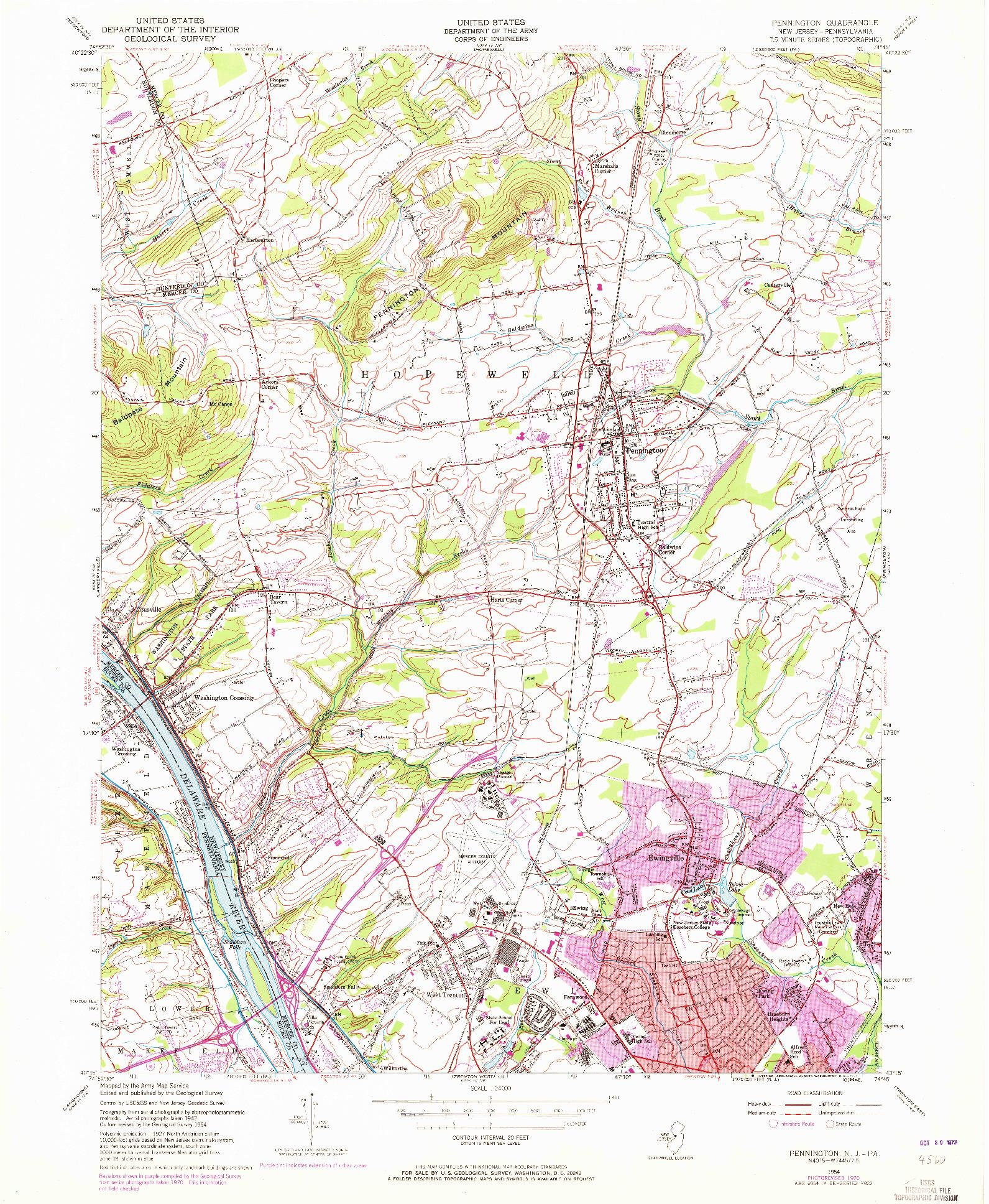 USGS 1:24000-SCALE QUADRANGLE FOR PENNINGTON, NJ 1954
