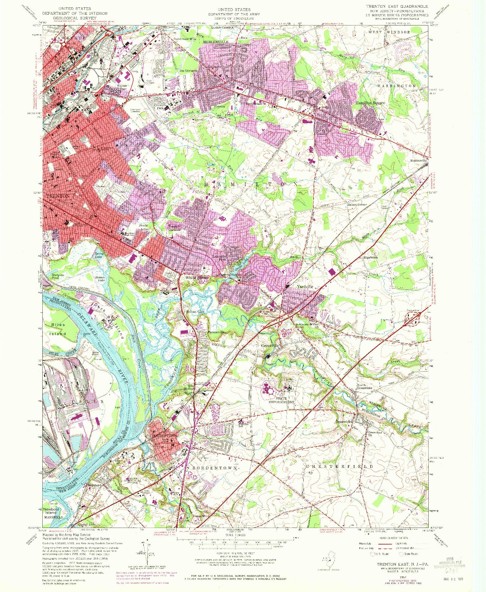 USGS 1:24000-SCALE QUADRANGLE FOR TRENTON EAST, NJ 1957 on map of mullica township nj, map of lawnside nj, map of farmington nj, map of cliffwood beach nj, map of stafford twp nj, map of pedricktown nj, map of west long branch nj, map of wood-ridge nj, map of hightstown nj, map of sea island nj, map of new jersey, map of cape may courthouse nj, map of haddon twp nj, map of normandy beach nj, map of lafayette nj, map of hudson nj, map of ewing township nj, map of leonardo nj, map of alexandria nj, map of mount vernon nj,