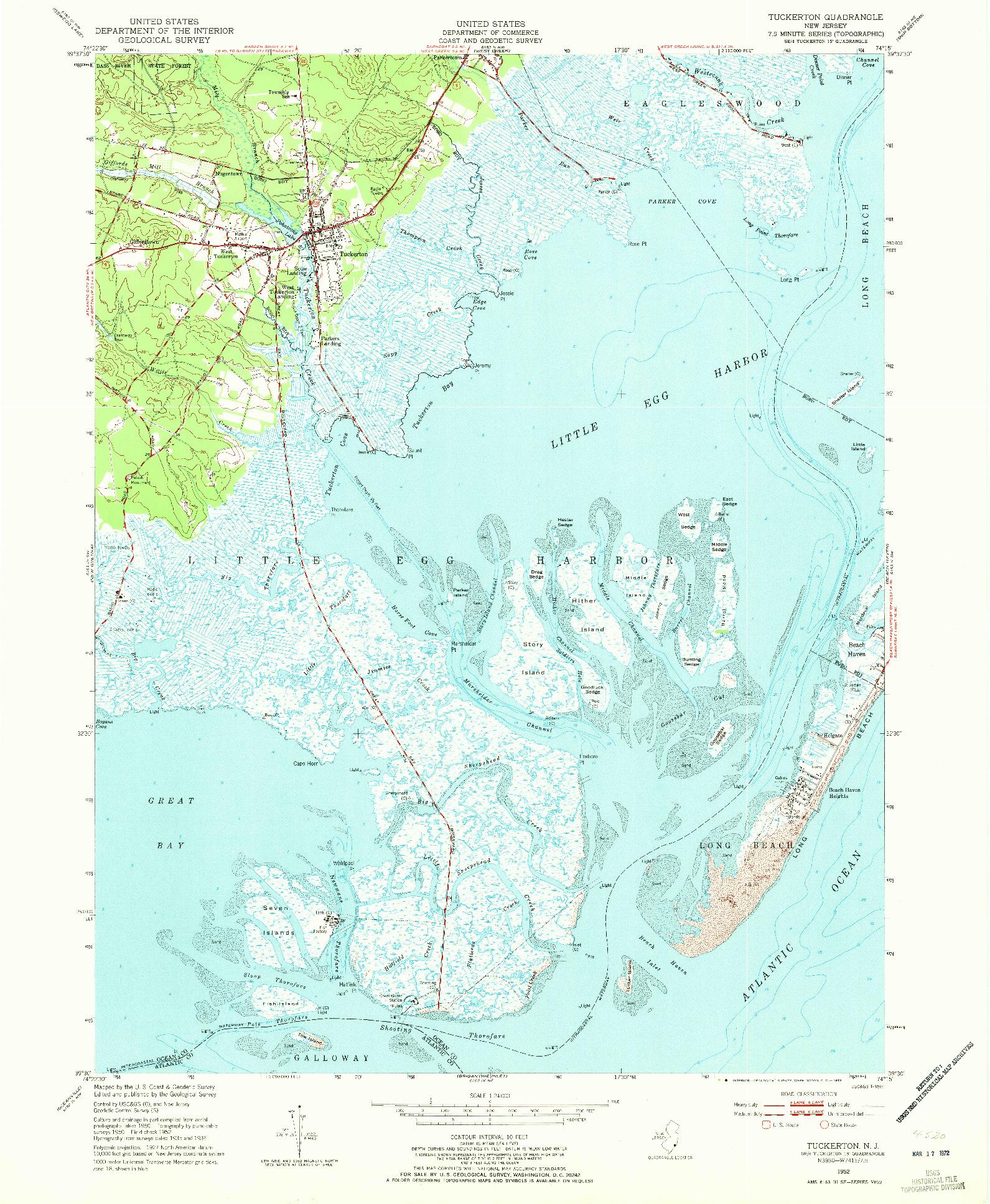 USGS 1:24000-SCALE QUADRANGLE FOR TUCKERTON, NJ 1952