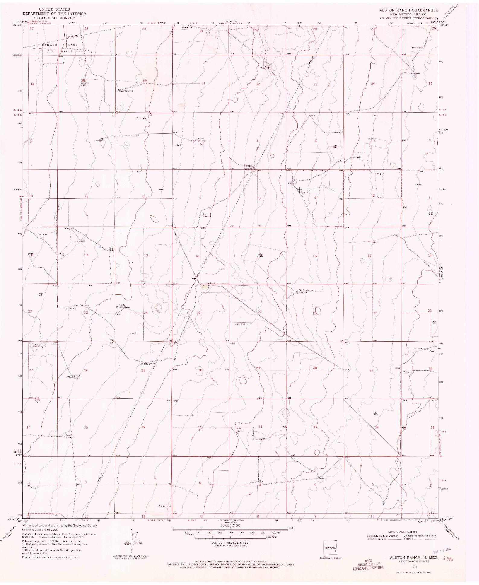 USGS 1:24000-SCALE QUADRANGLE FOR ALSTON RANCH, NM 1970