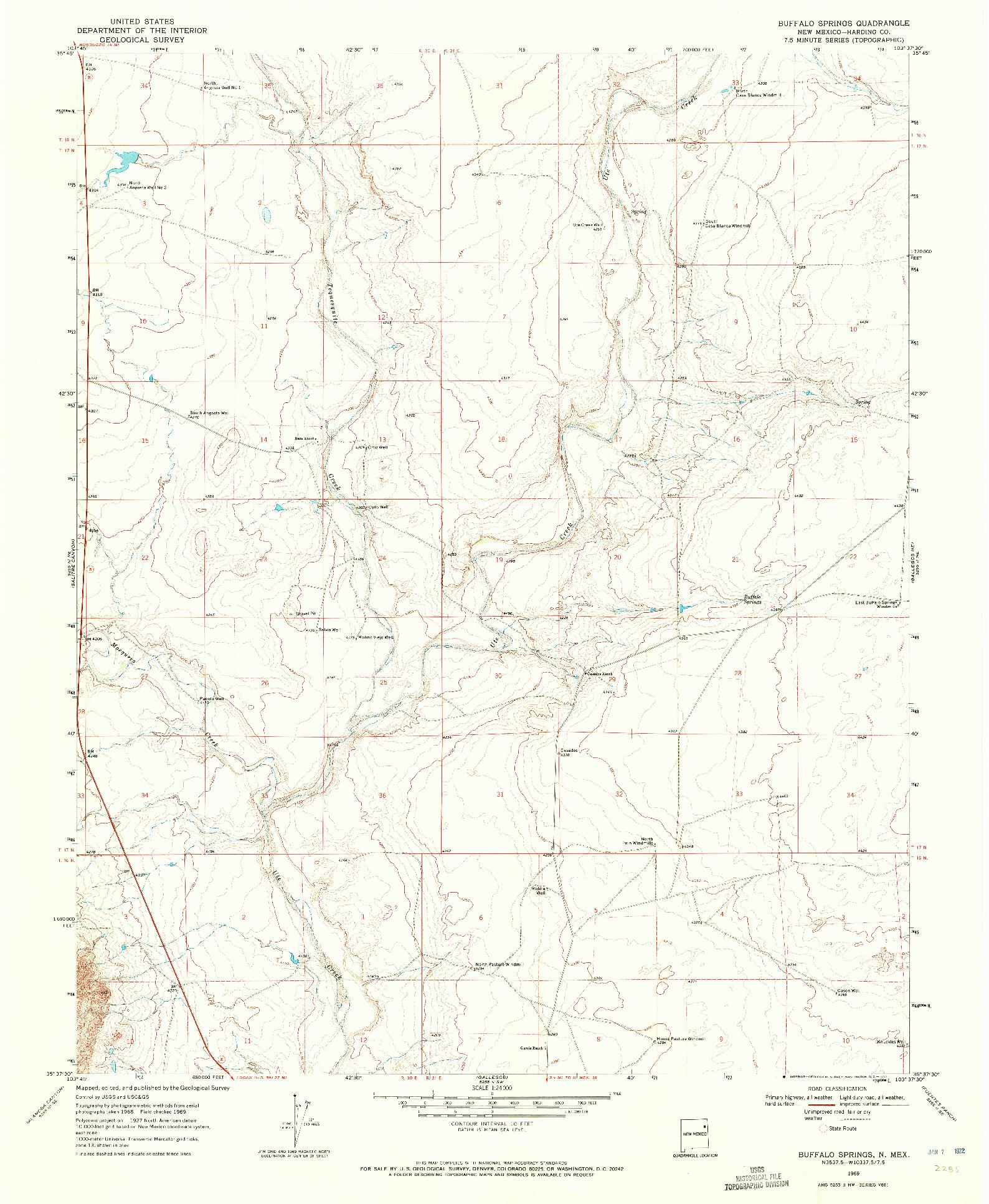 USGS 1:24000-SCALE QUADRANGLE FOR BUFFALO SPRINGS, NM 1969