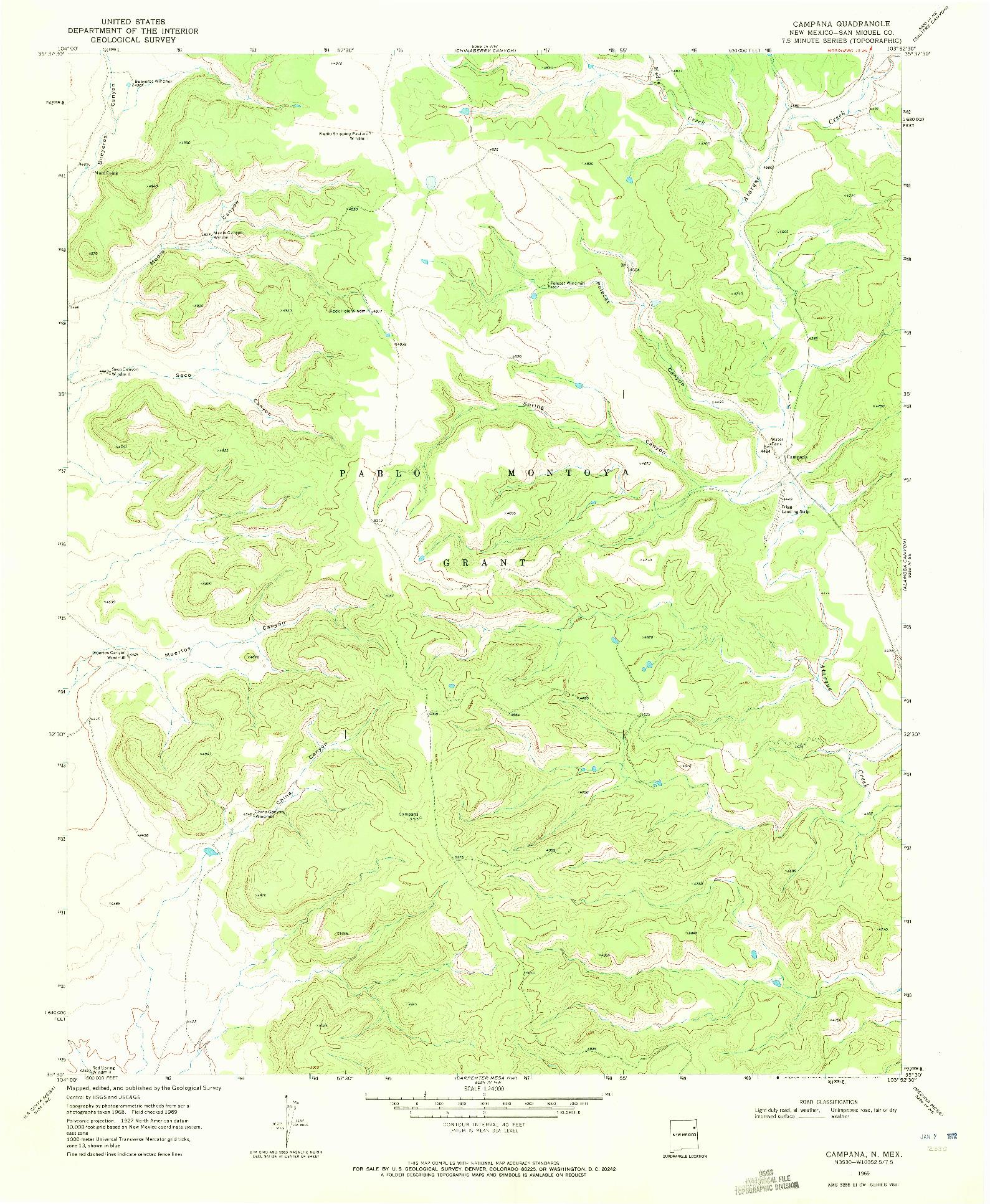 USGS 1:24000-SCALE QUADRANGLE FOR CAMPANA, NM 1969