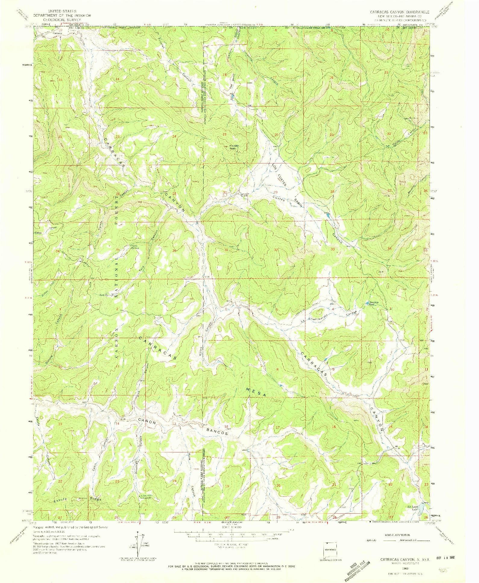 USGS 1:24000-SCALE QUADRANGLE FOR CARRACAS CANYON, NM 1963