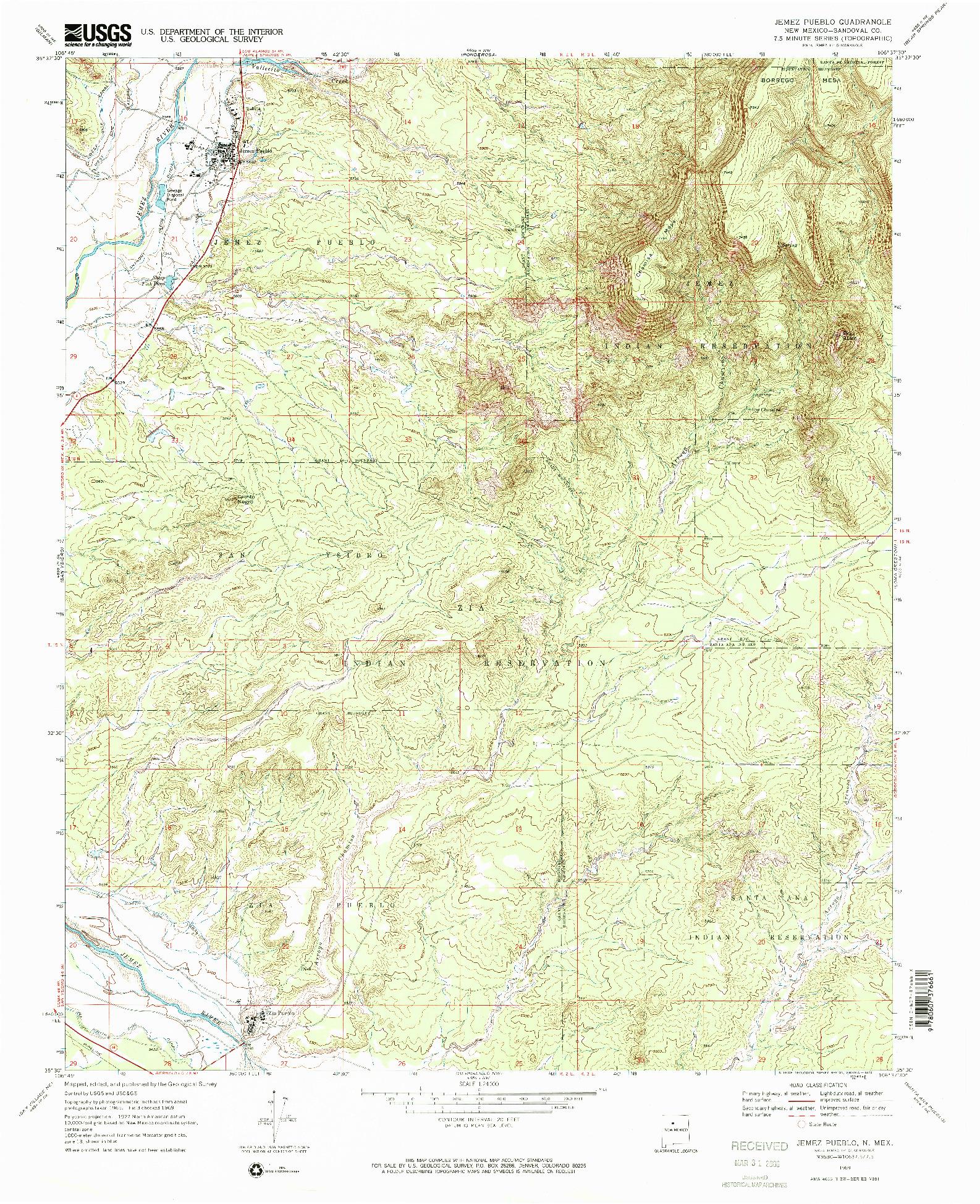 USGS 1:24000-SCALE QUADRANGLE FOR JEMEZ PUEBLO, NM 1969