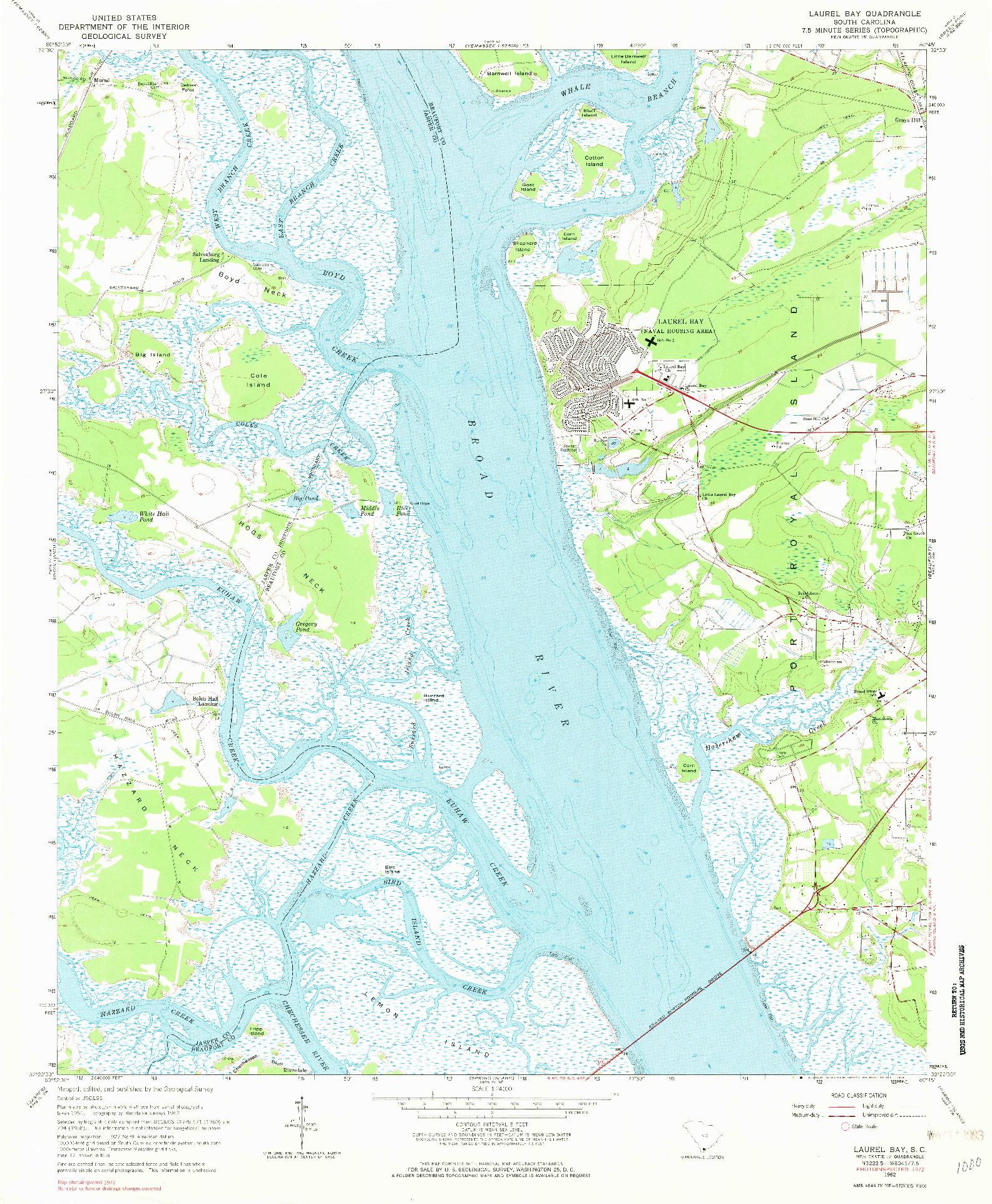 USGS 1:24000-SCALE QUADRANGLE FOR LAUREL BAY, SC 1962