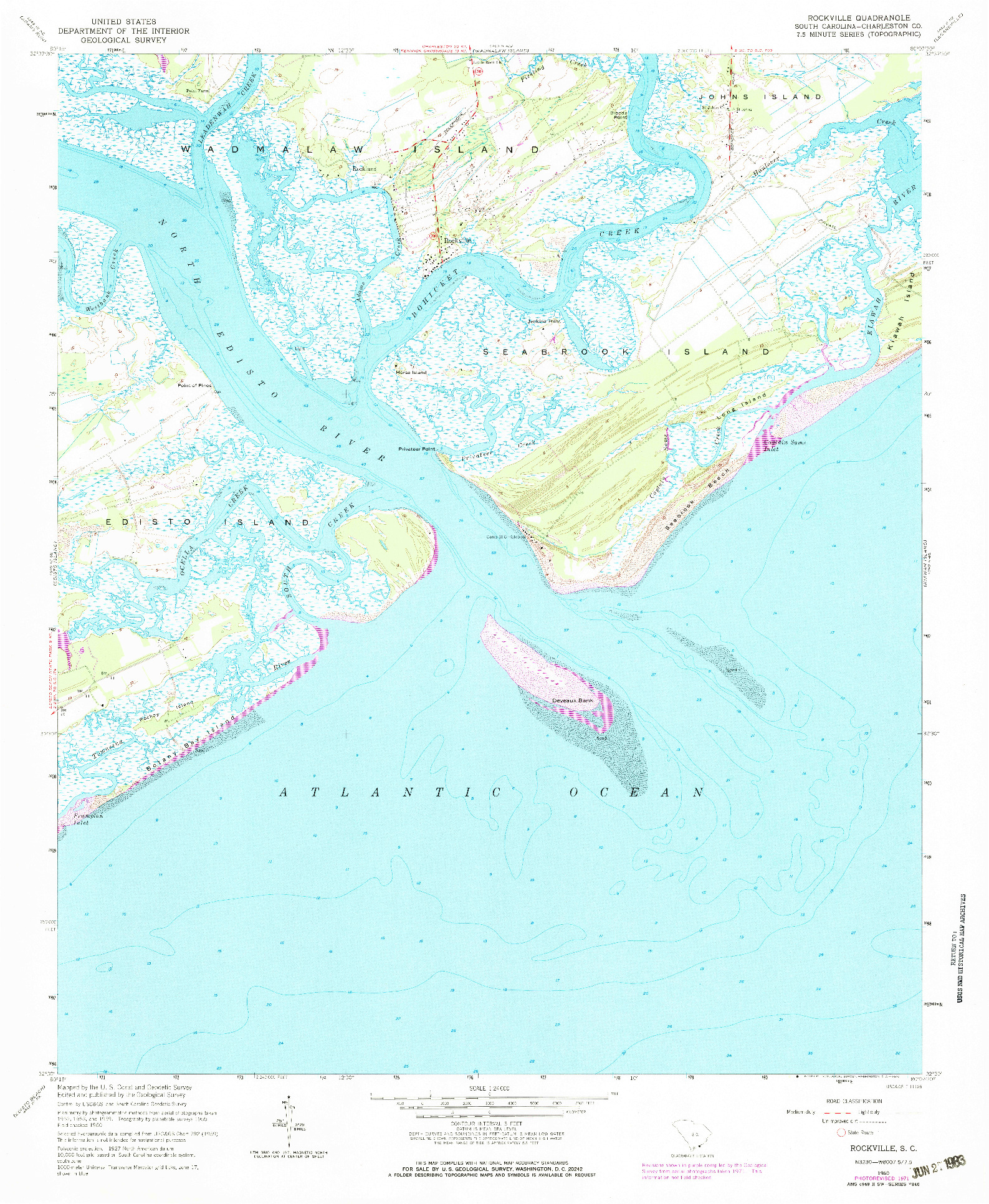 USGS 1:24000-SCALE QUADRANGLE FOR ROCKVILLE, SC 1960