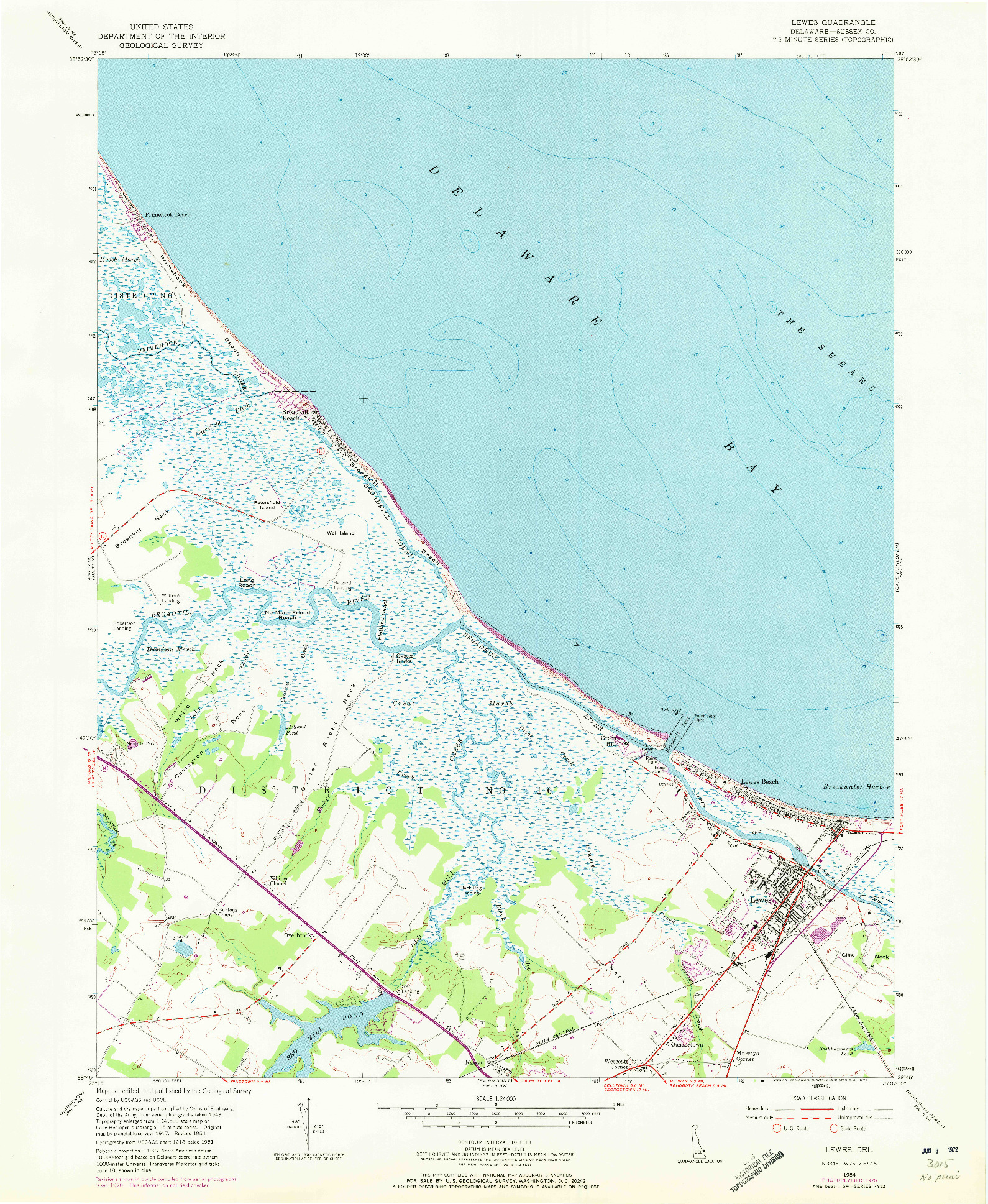 USGS 1:24000-SCALE QUADRANGLE FOR LEWES, DE 1954