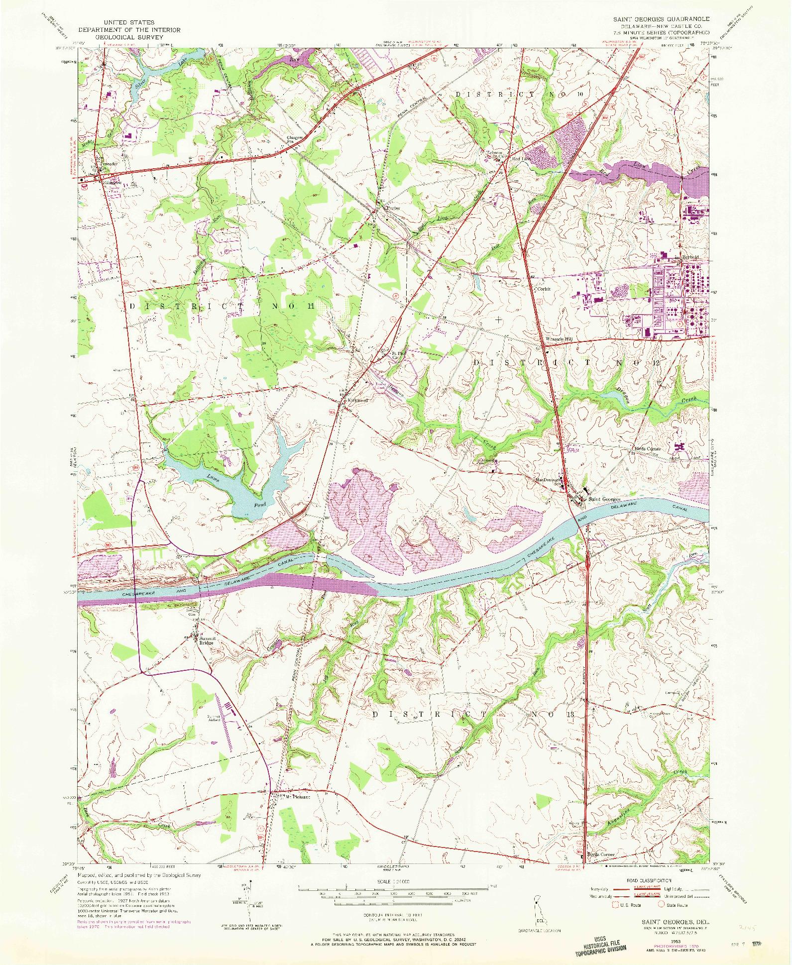 USGS 1:24000-SCALE QUADRANGLE FOR SAINT GEORGES, DE 1953