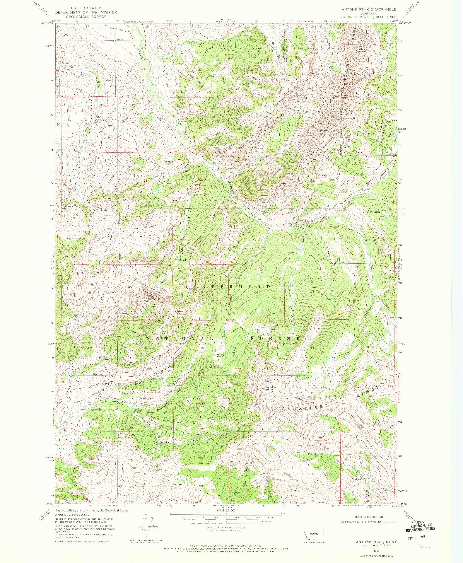 USGS 1:24000-SCALE QUADRANGLE FOR ANTONE PEAK, MT 1968