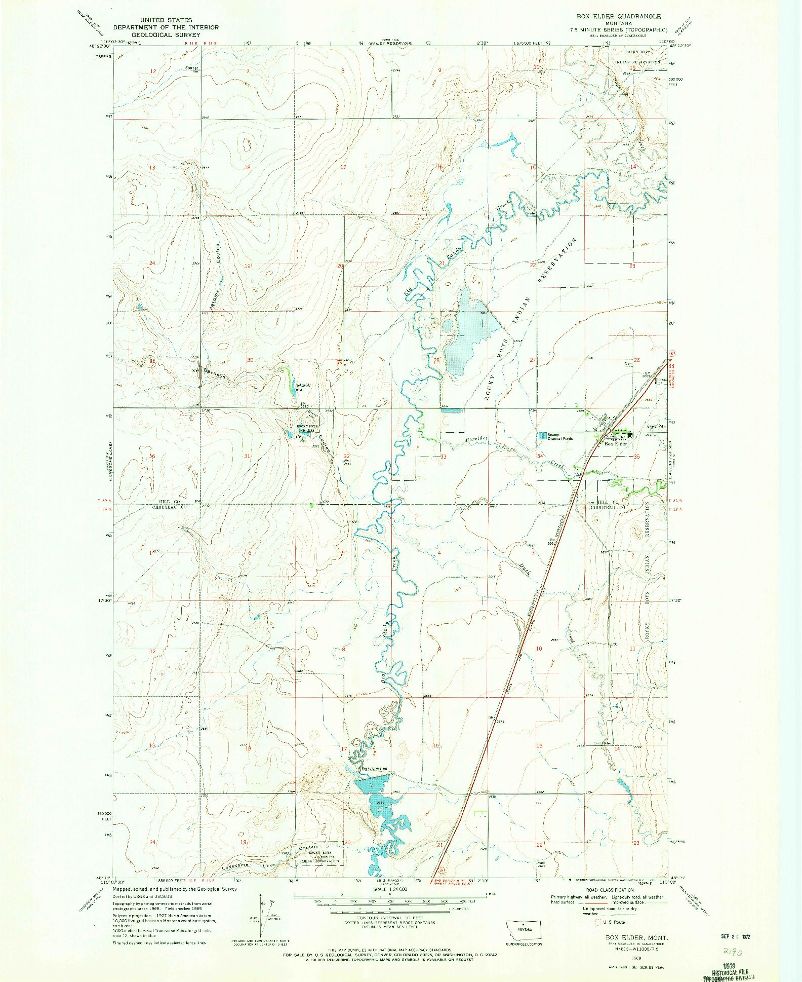 USGS 1:24000-SCALE QUADRANGLE FOR BOX ELDER, MT 1969