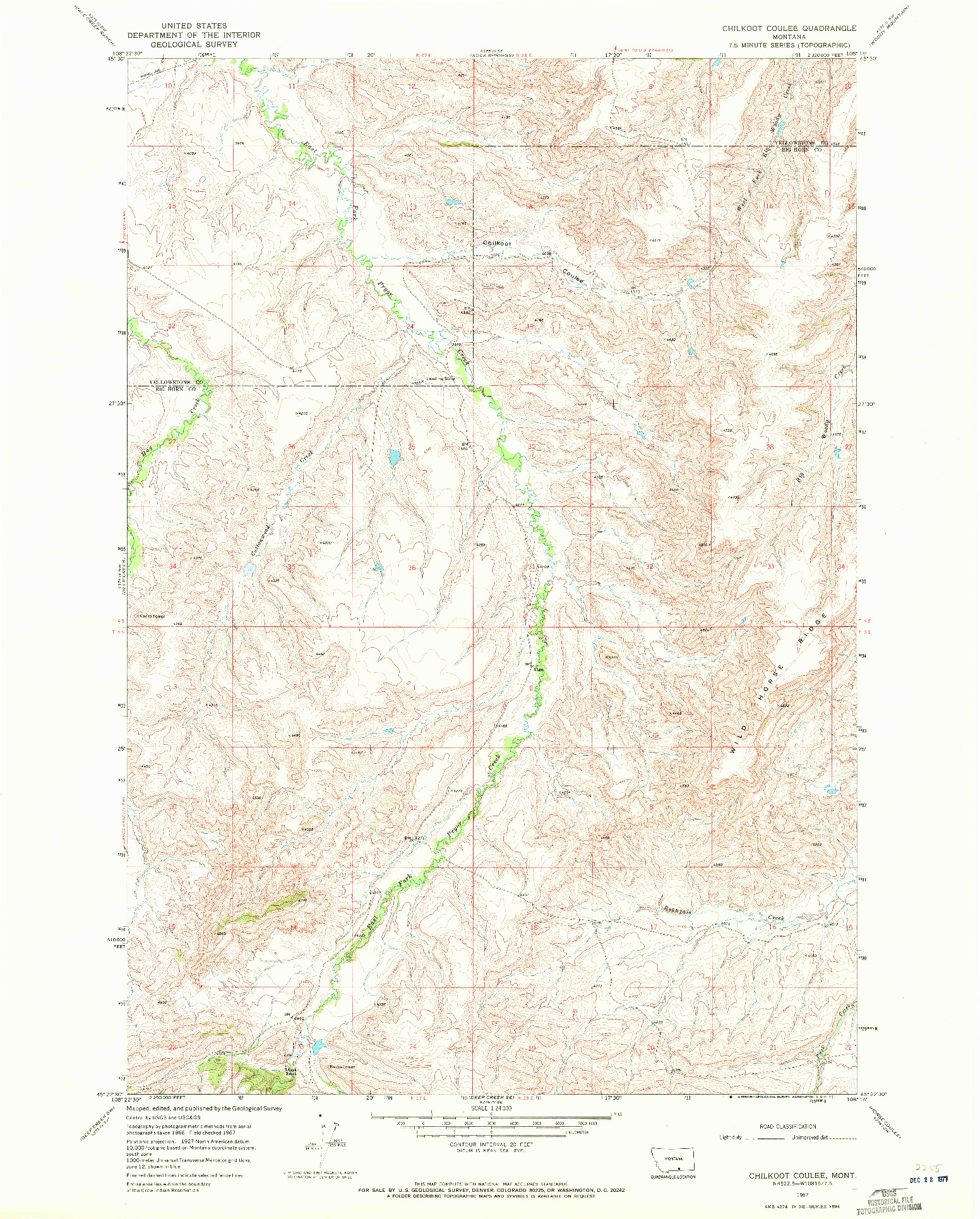 USGS 1:24000-SCALE QUADRANGLE FOR CHILKOOT COULEE, MT 1967
