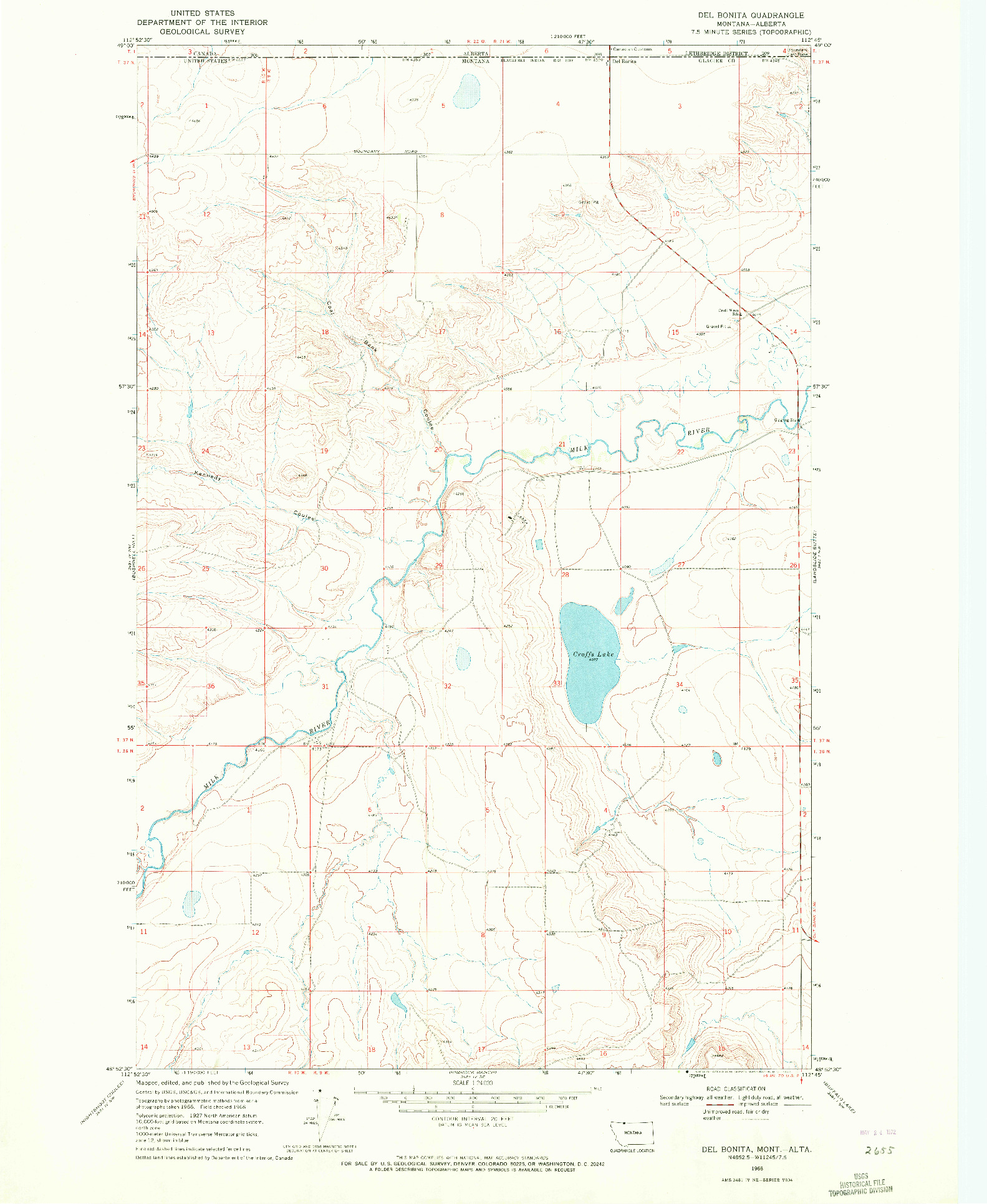 USGS 1:24000-SCALE QUADRANGLE FOR DEL BONITA, MT 1968