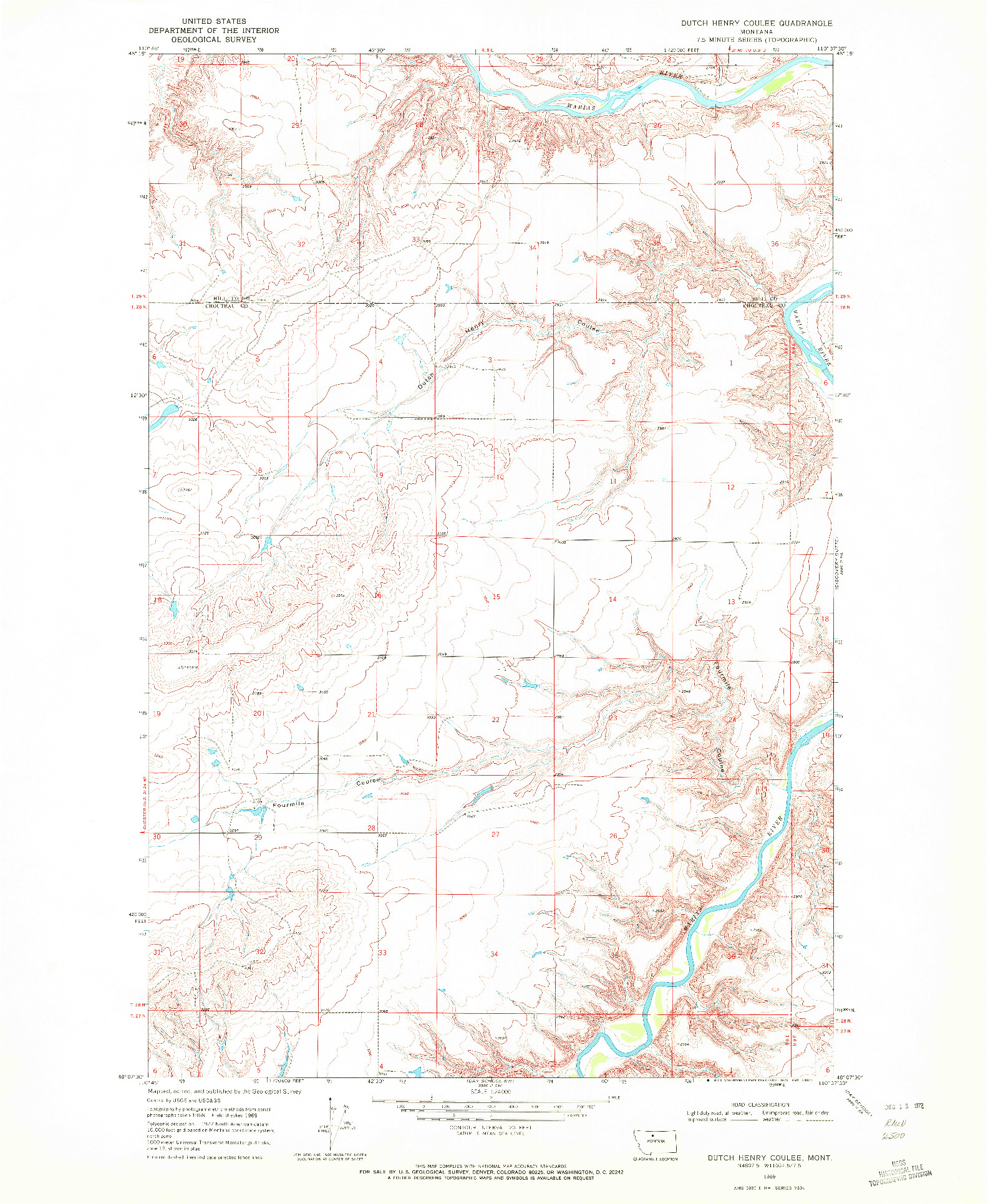 USGS 1:24000-SCALE QUADRANGLE FOR DUTCH HENRY COULEE, MT 1969