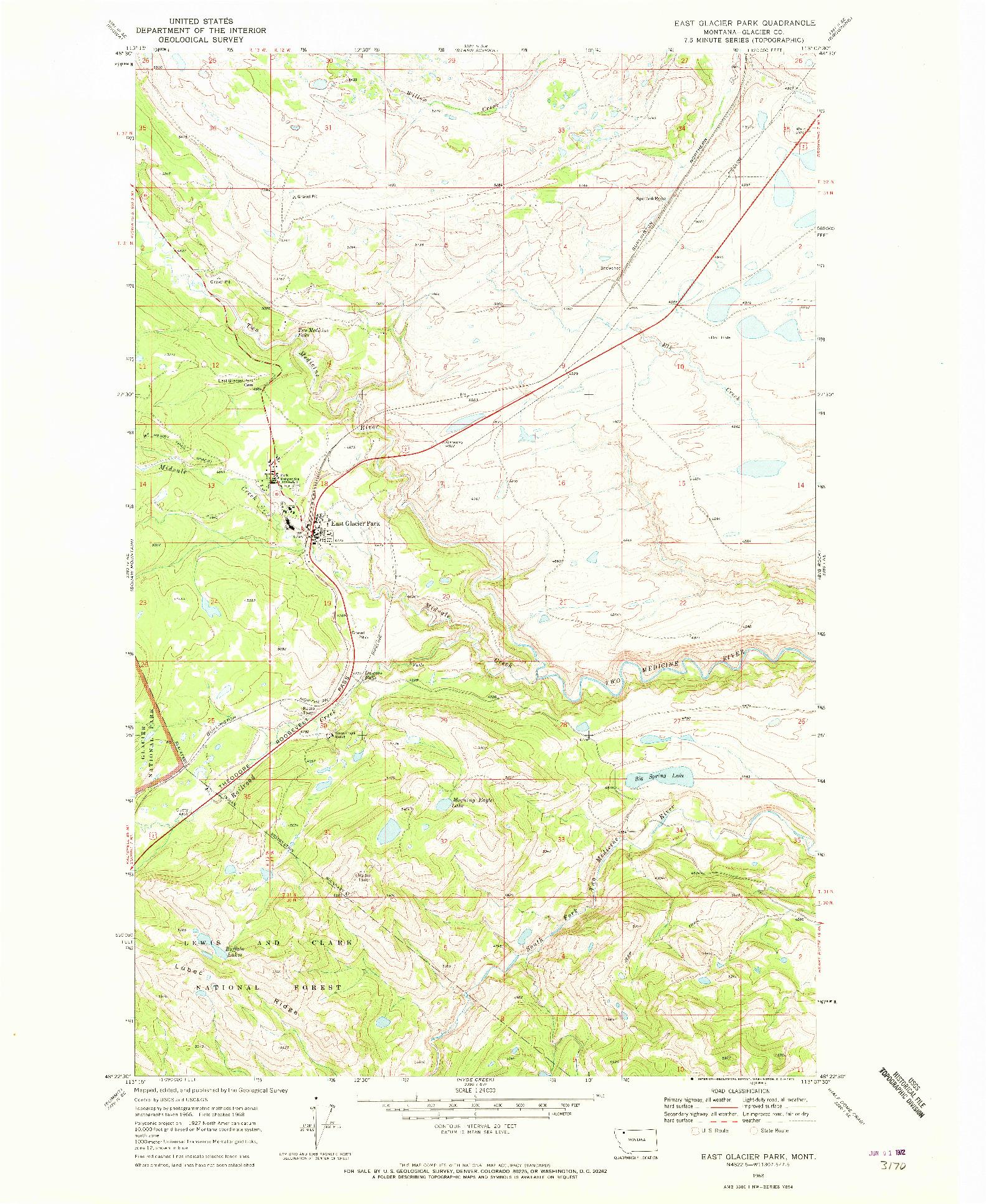USGS 1:24000-SCALE QUADRANGLE FOR EAST GLACIER PARK, MT 1968