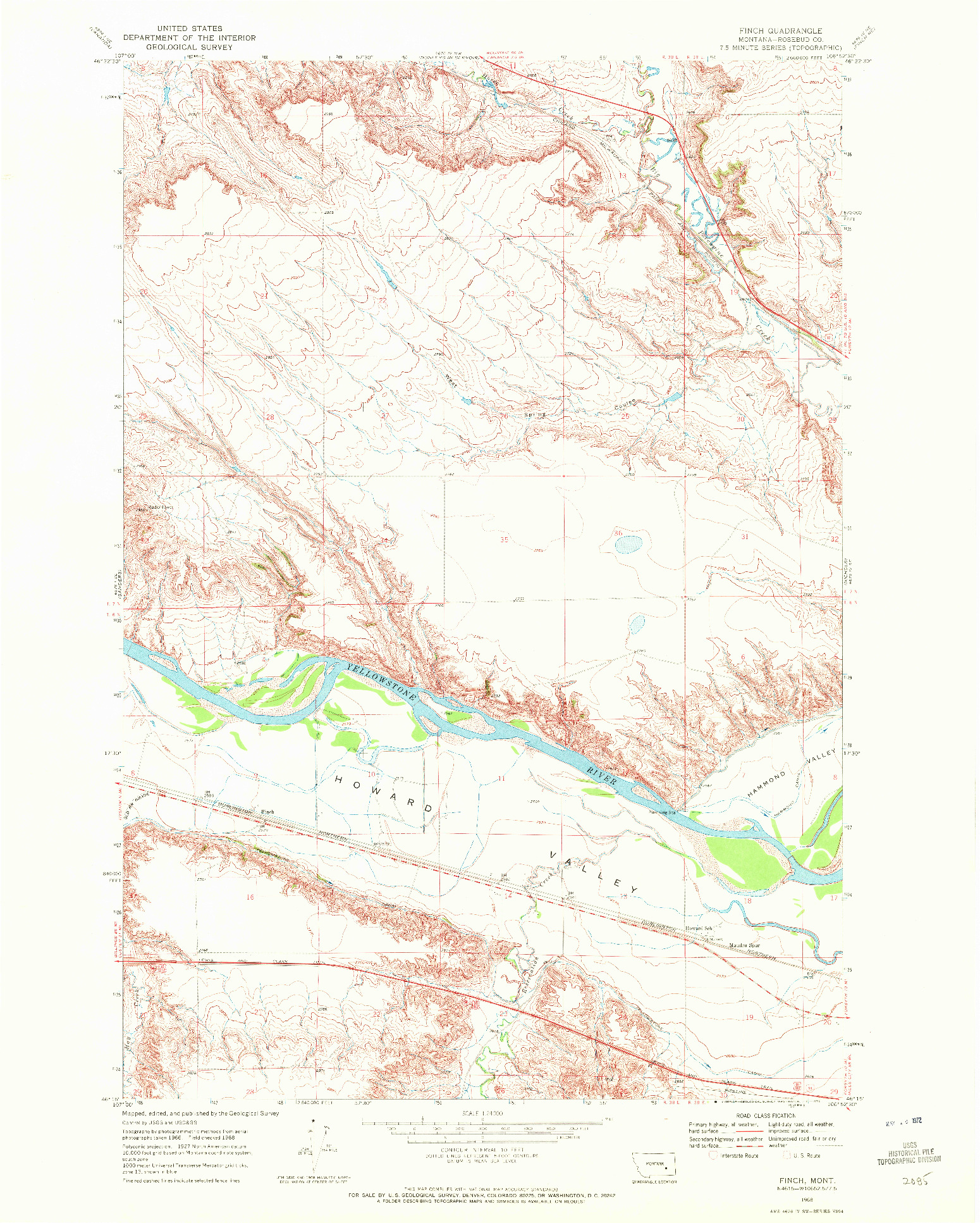 USGS 1:24000-SCALE QUADRANGLE FOR FINCH, MT 1968