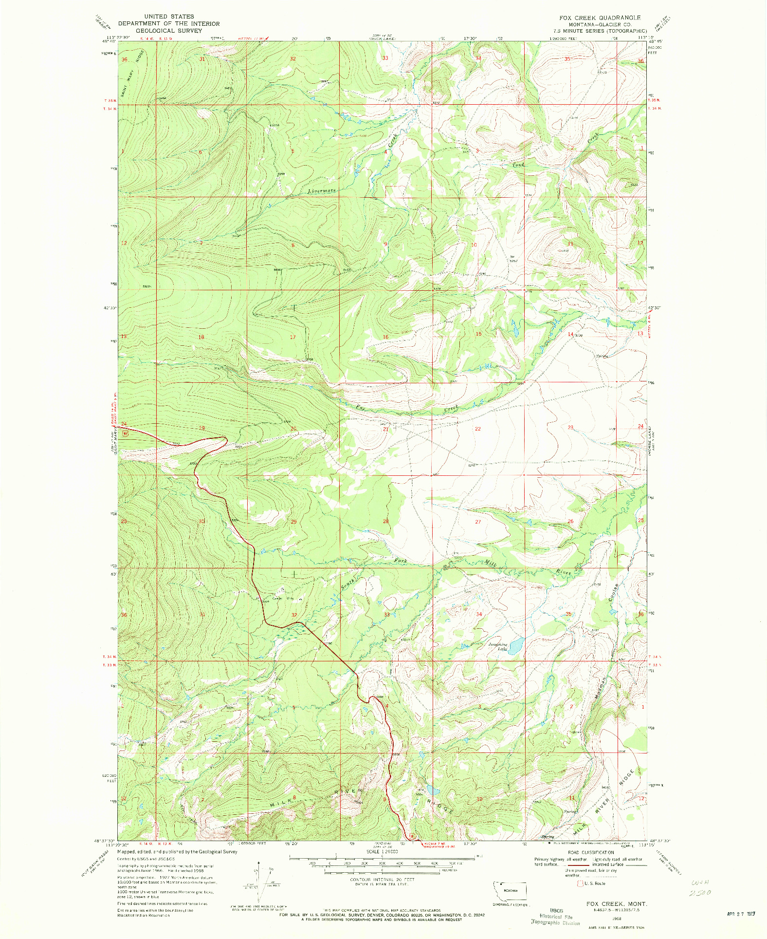 USGS 1:24000-SCALE QUADRANGLE FOR FOX CREEK, MT 1968